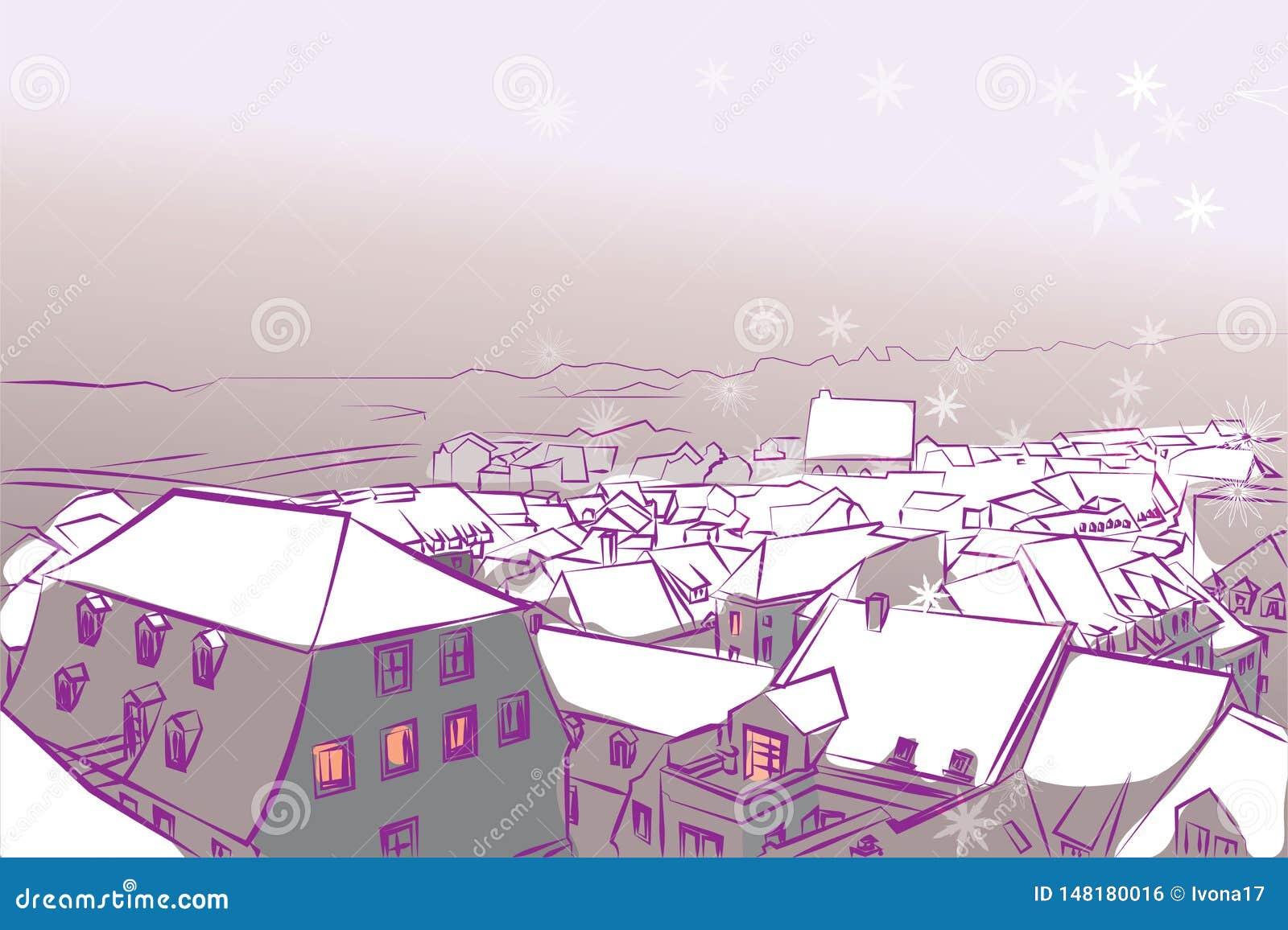 冬天镇阻止的雪传染媒介背景紫罗兰