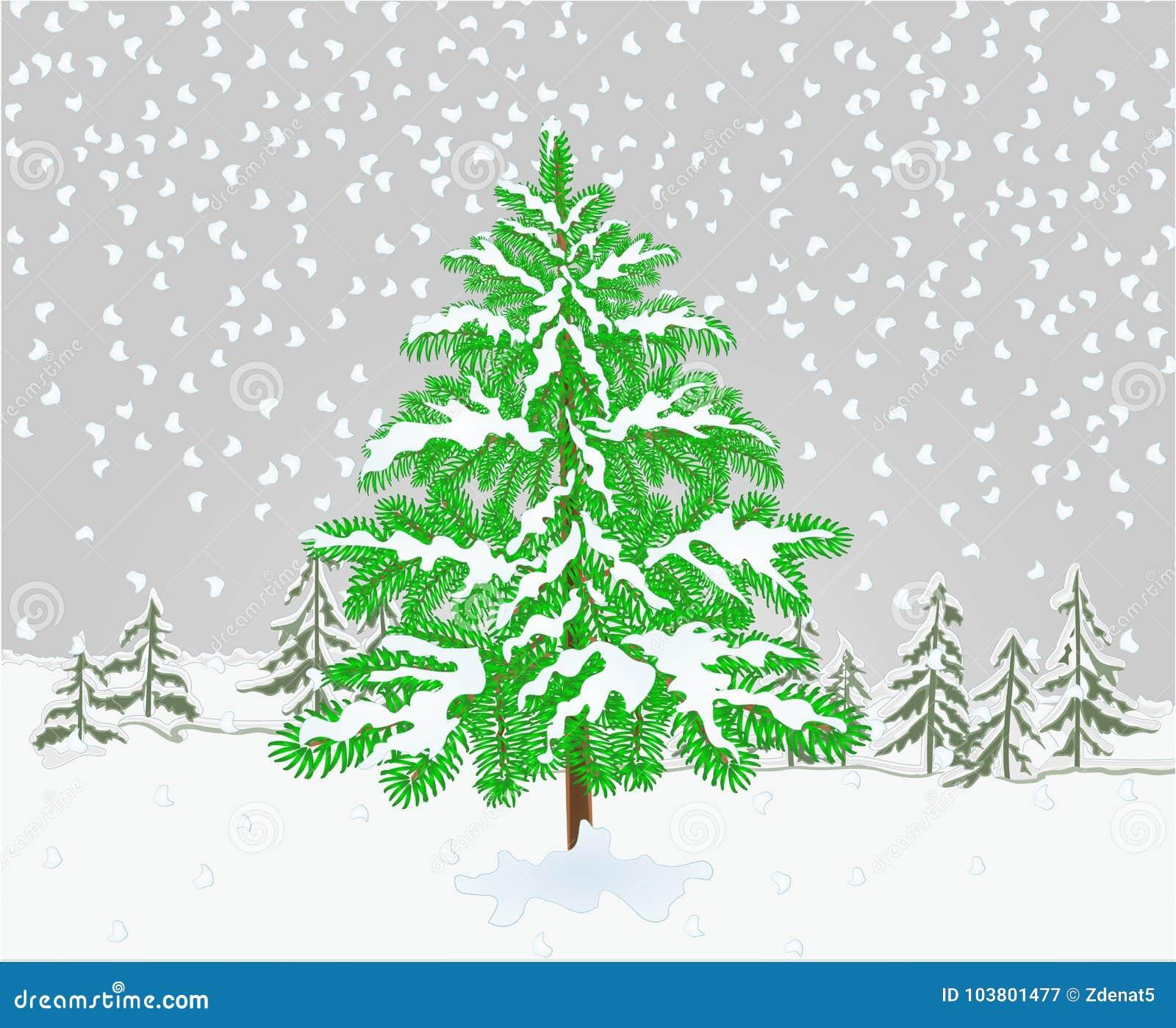 冬天风景与雪圣诞节题材自然本底葡萄酒编辑可能传染媒介的例证的云杉树