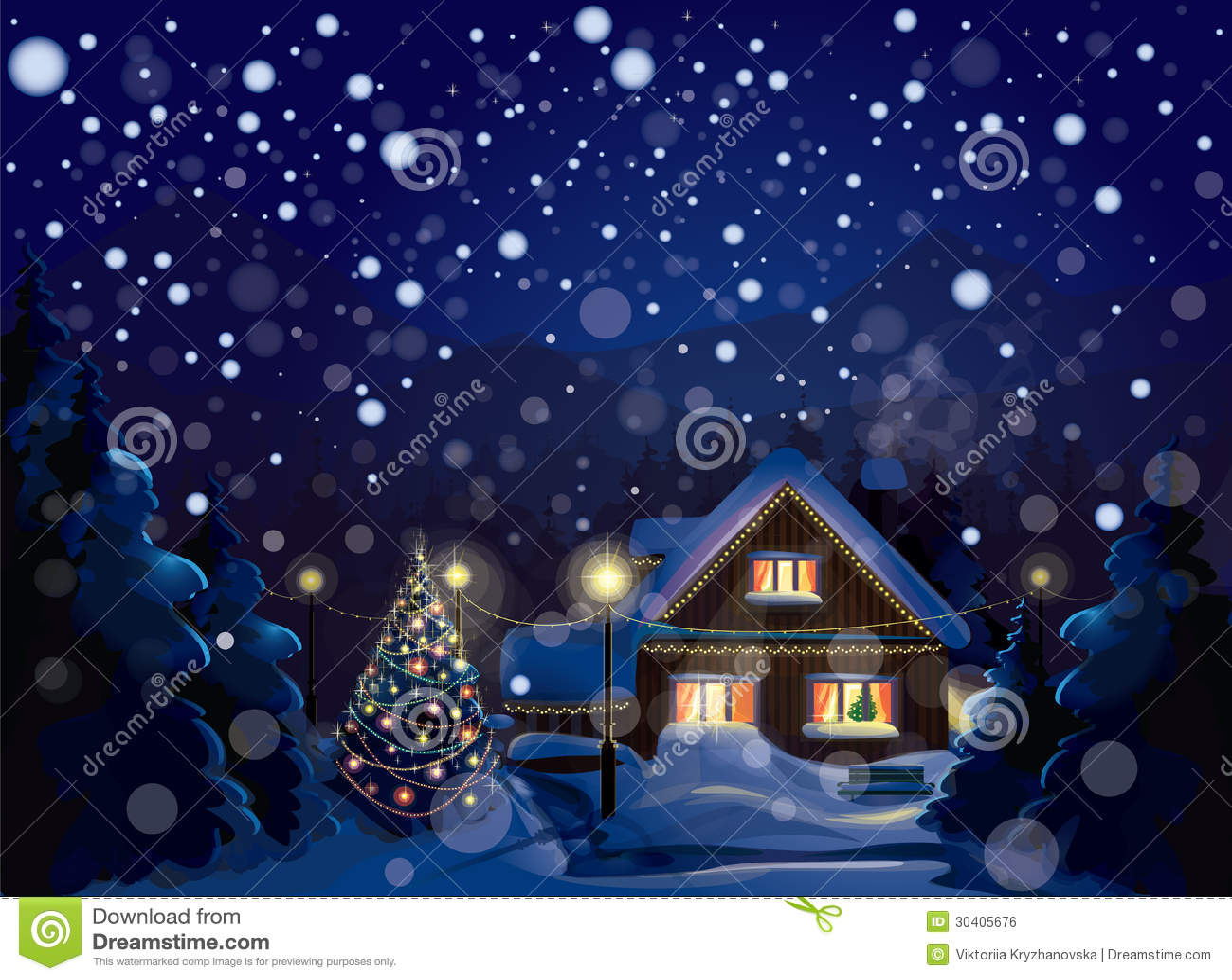 冬天风景传染媒介。圣诞快乐!