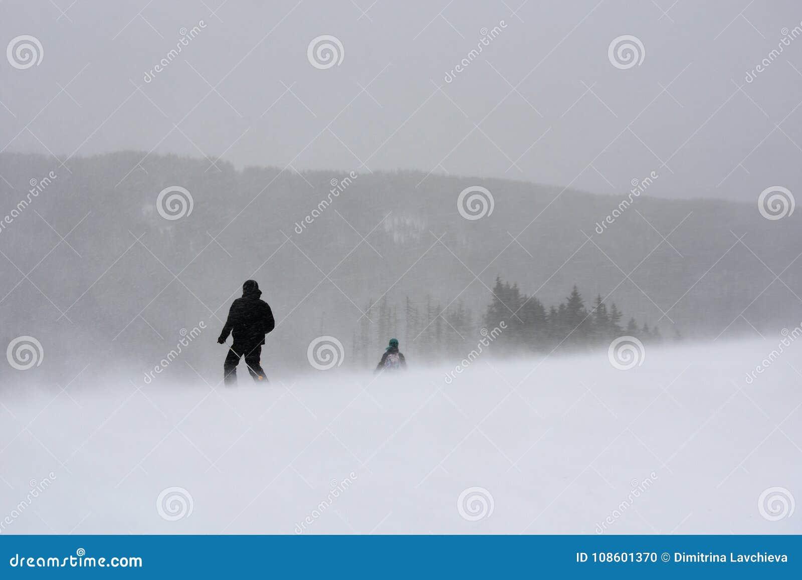 冬天飞雪的滑雪者