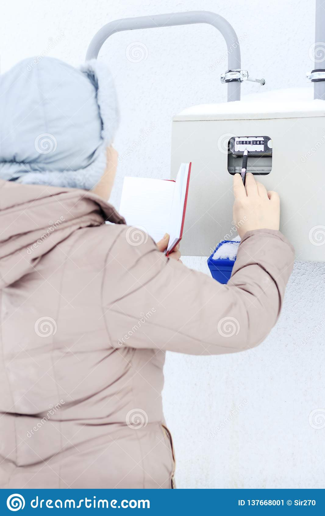 冬天,雪,冷 女孩,工程师,工作者记录传感器和压力表的读书 找出他们