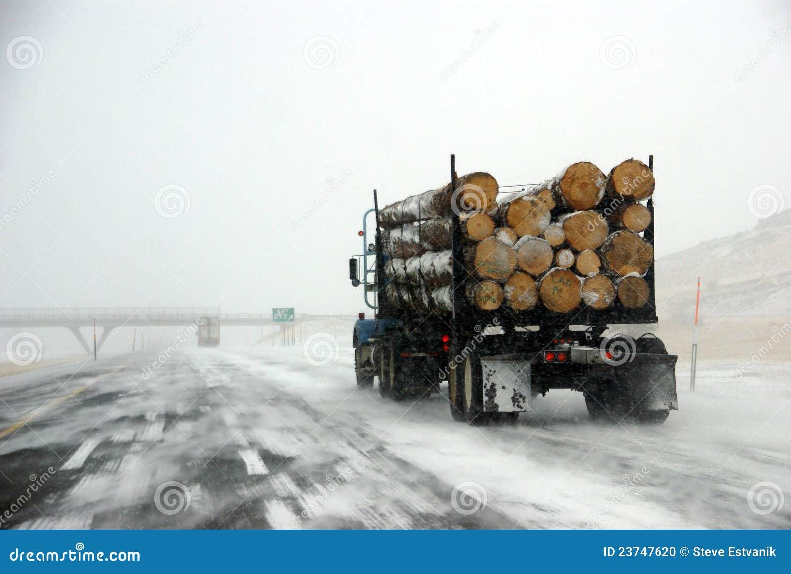 冰冷的伐木通路卡车
