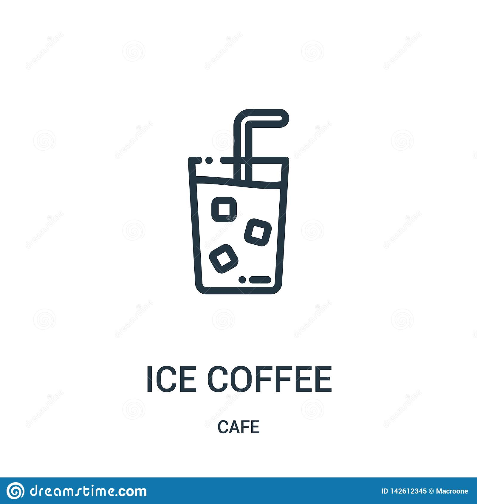 冰冻咖啡从咖啡馆汇集的象传染媒介 稀薄的线冰冻咖啡概述象传染媒介例证 r