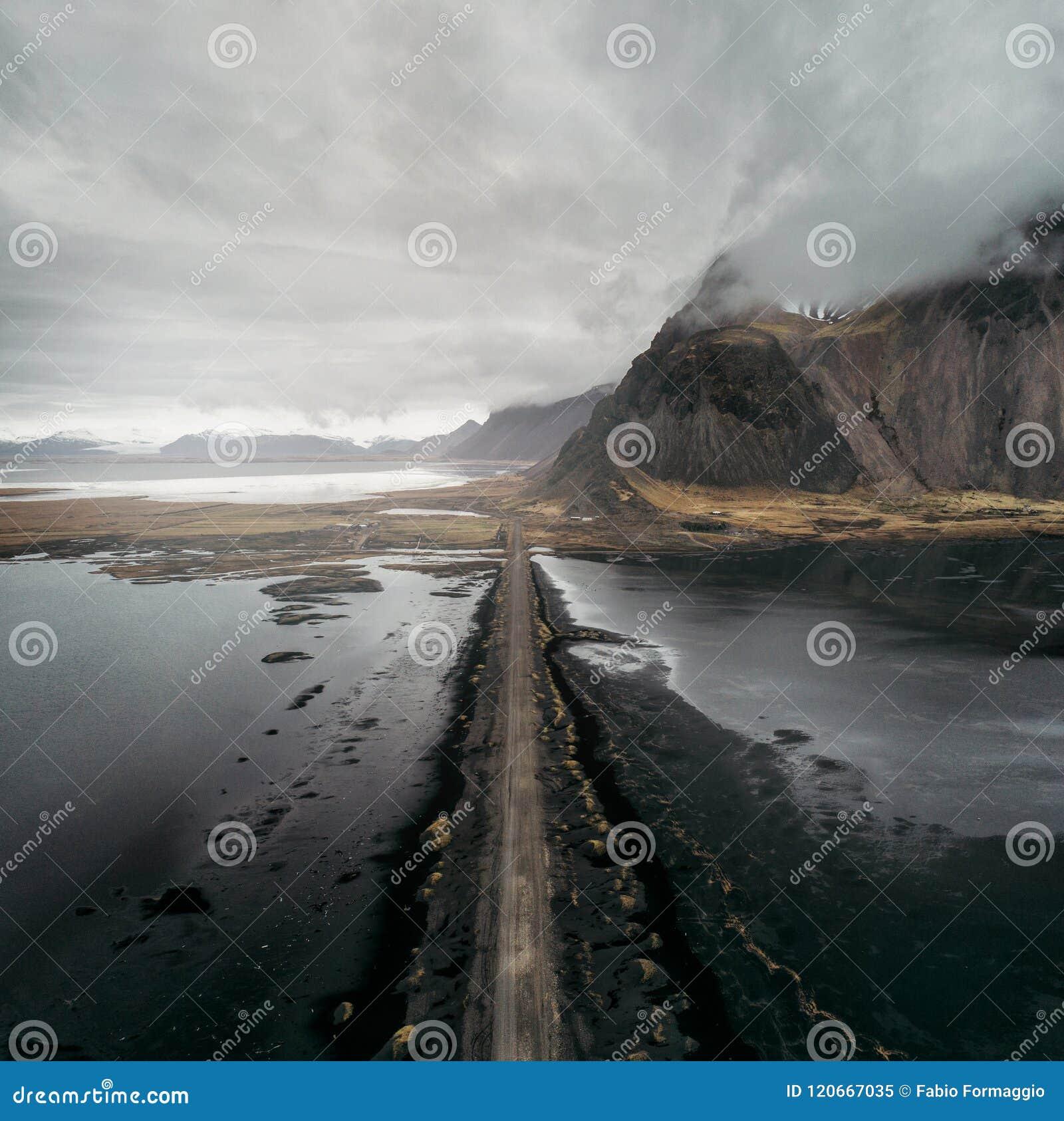冰岛全景,在土地的鸟瞰图