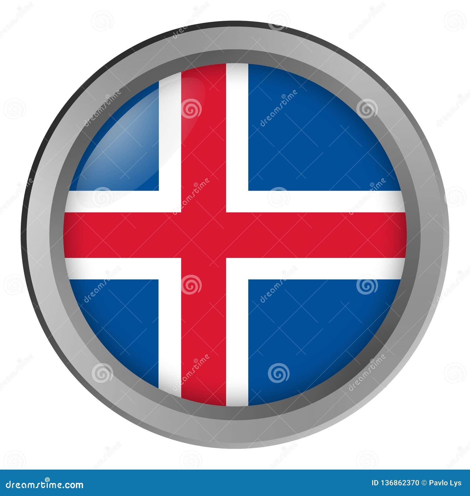 冰岛回合旗子作为按钮