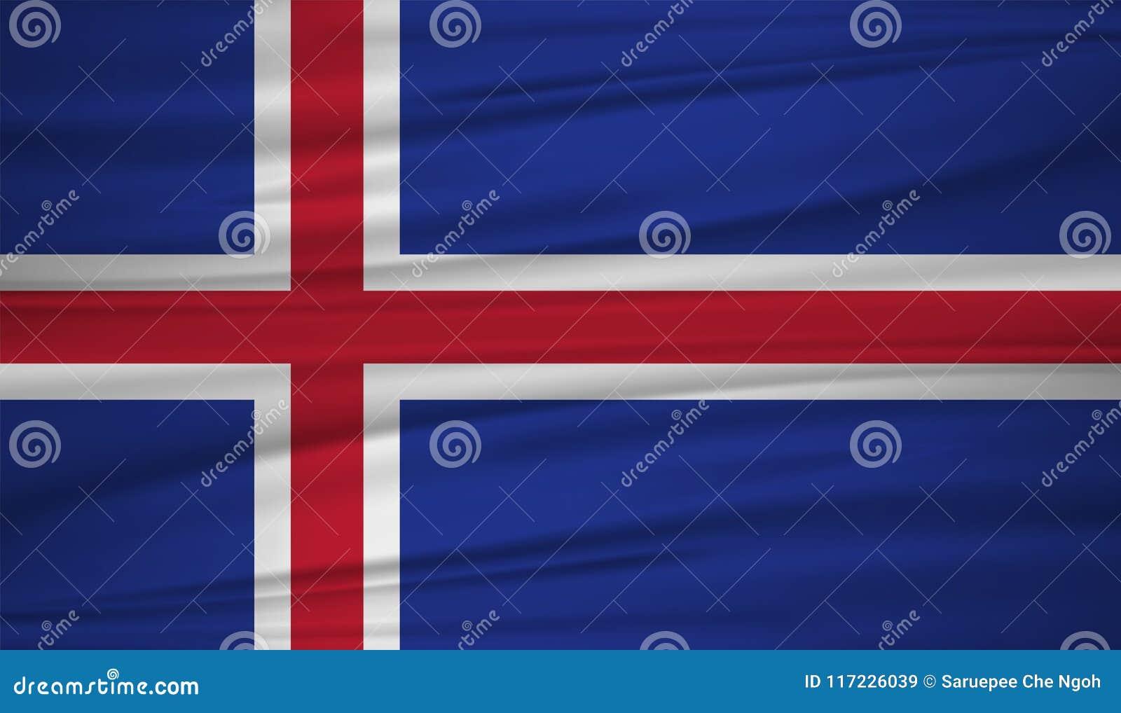 冰岛旗子传染媒介 导航冰岛blowig旗子在风的