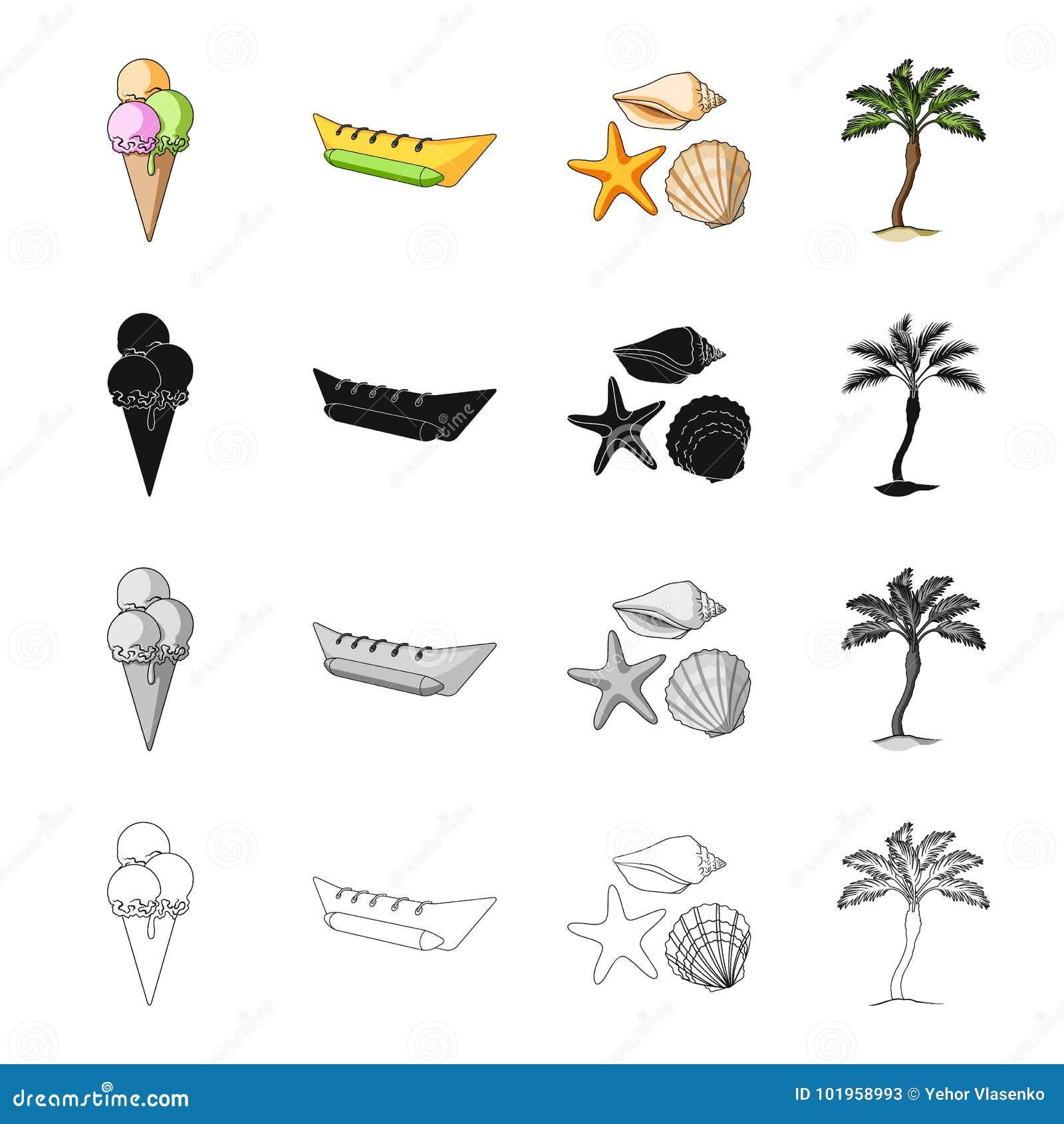 冰淇凌,休息的可膨胀的小船,海软体动物,棕榈 在夏天集合汇集象的休息在动画片黑色黑白照片