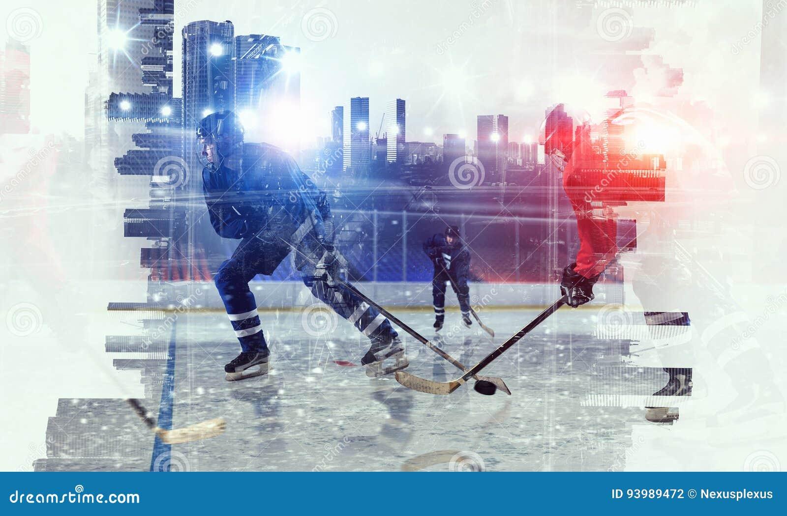 冰的曲棍球运动员