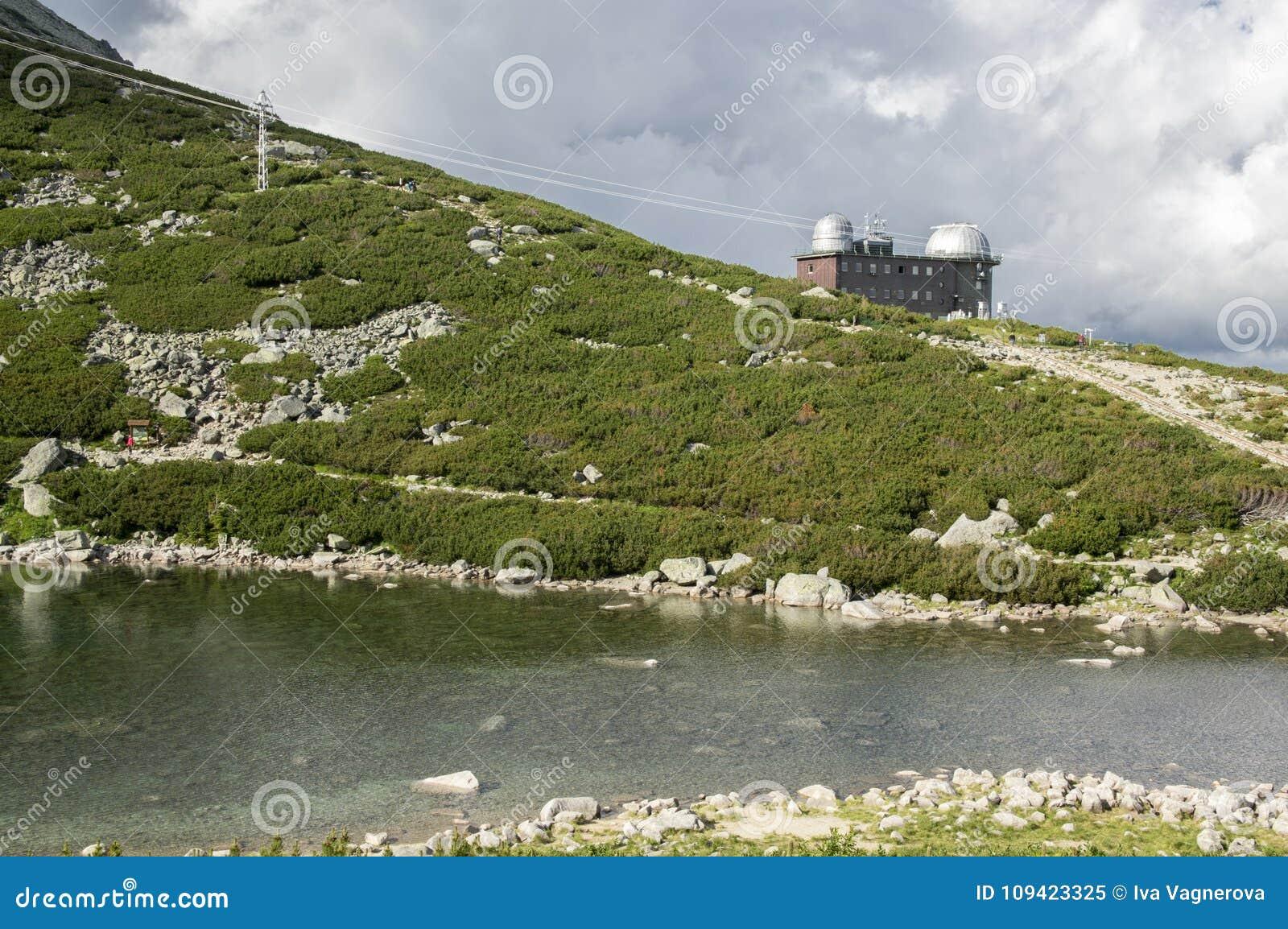 冰碛抑制了湖Tatra山的名为Skalnate pleso,天文学和meteoroligical观测所,斯洛伐克
