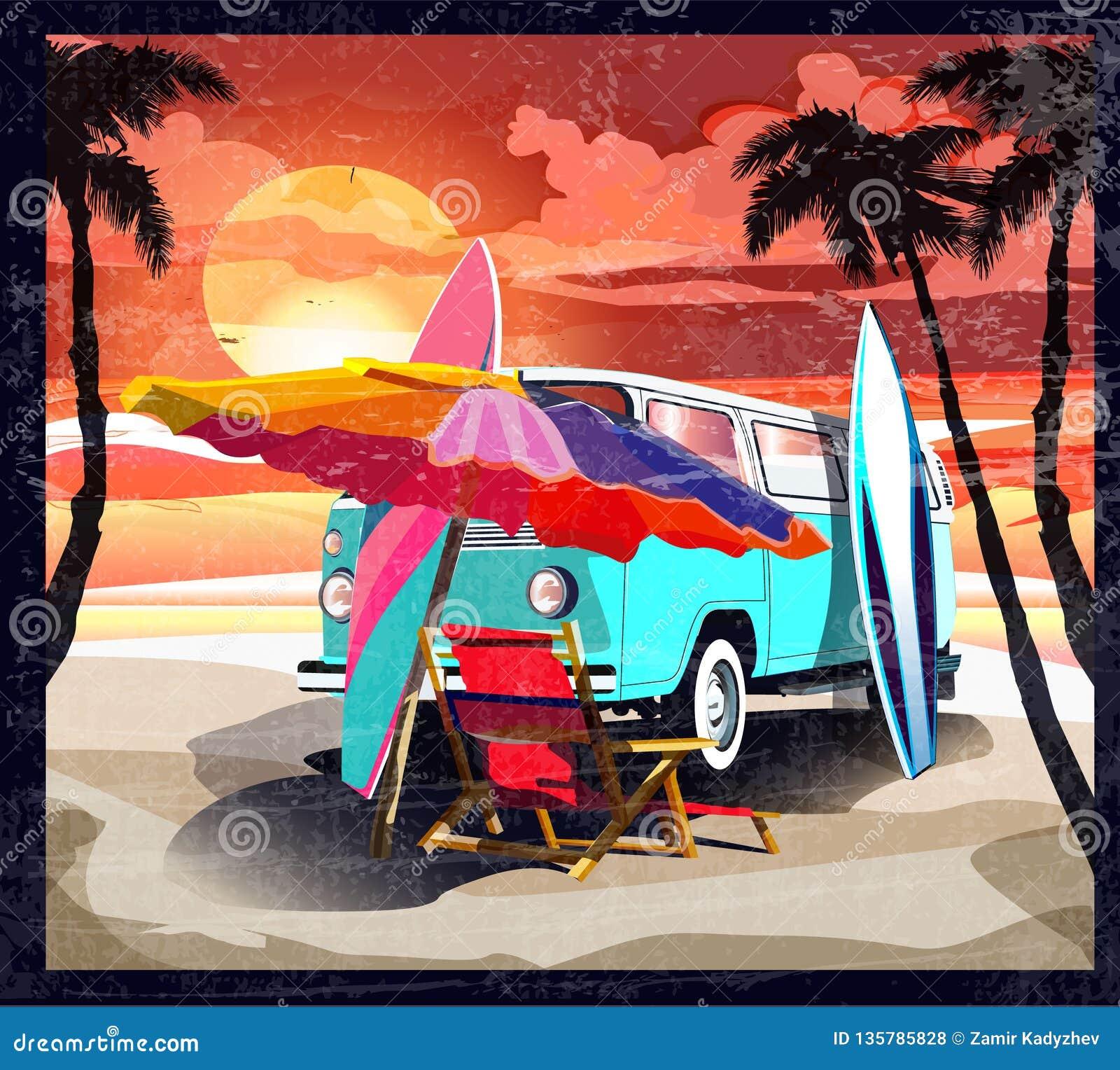 冲浪者橙色公共汽车,搬运车,有冲浪板的露营车在热带海滩 海报加利福尼亚后边棕榈树和蓝色海洋 减速火箭