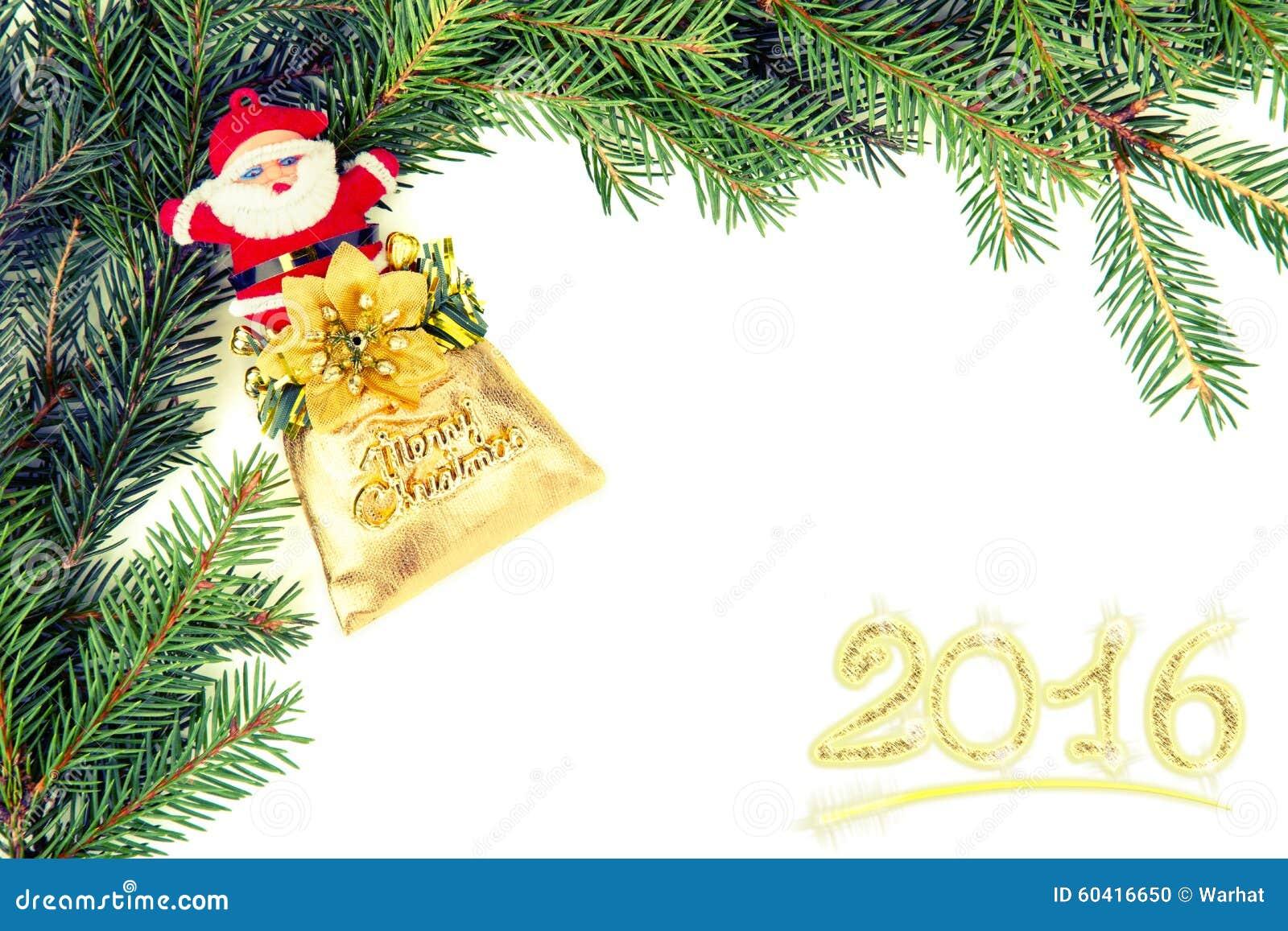 从冷杉branchwith圣诞老人的圣诞节框架