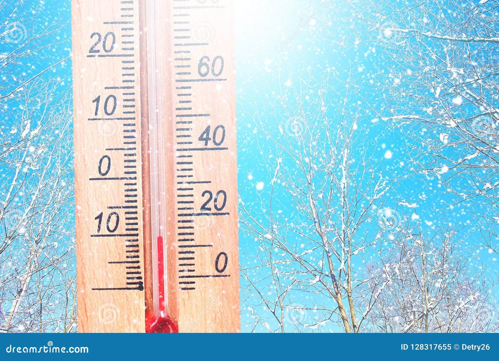冷的冬天天气- 10摄氏度 在冬天冷淡的天气的温度计在雪显示低温-减十 低
