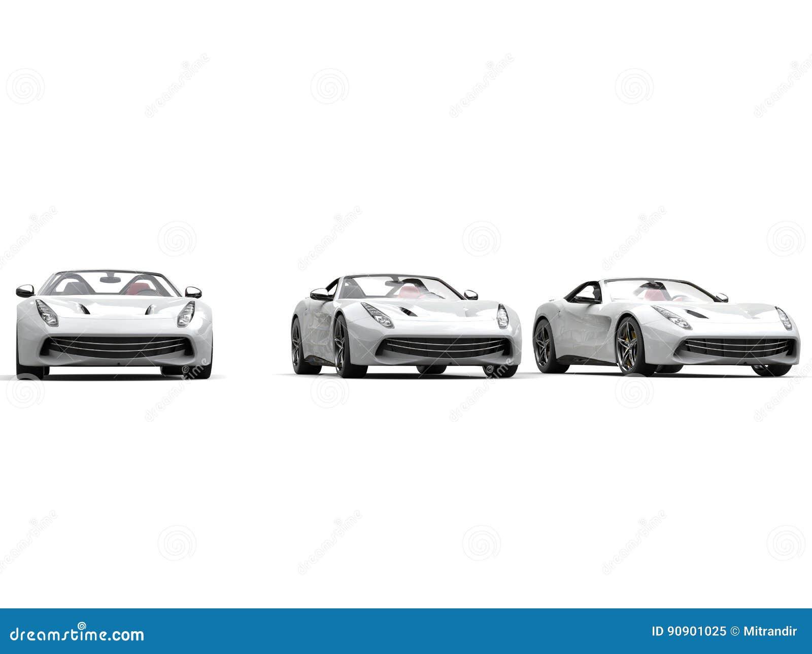 冷却三辆白色跑车-演播室射击
