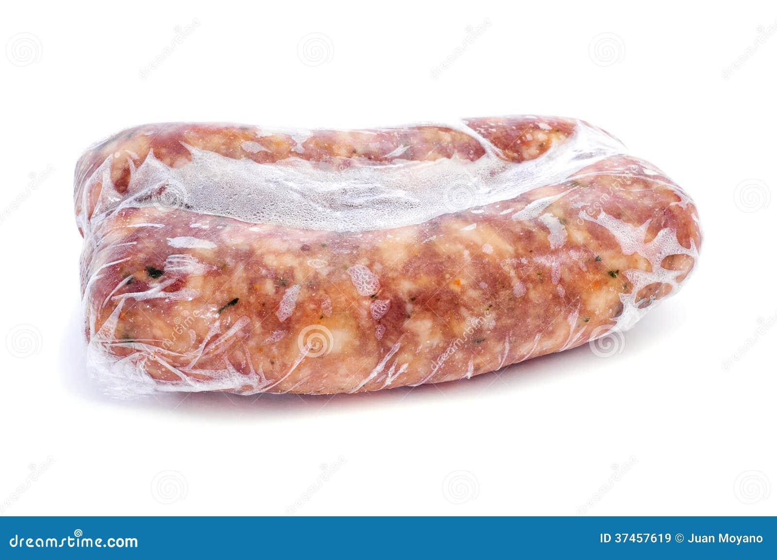 冷冻加香料的猪肉香肠