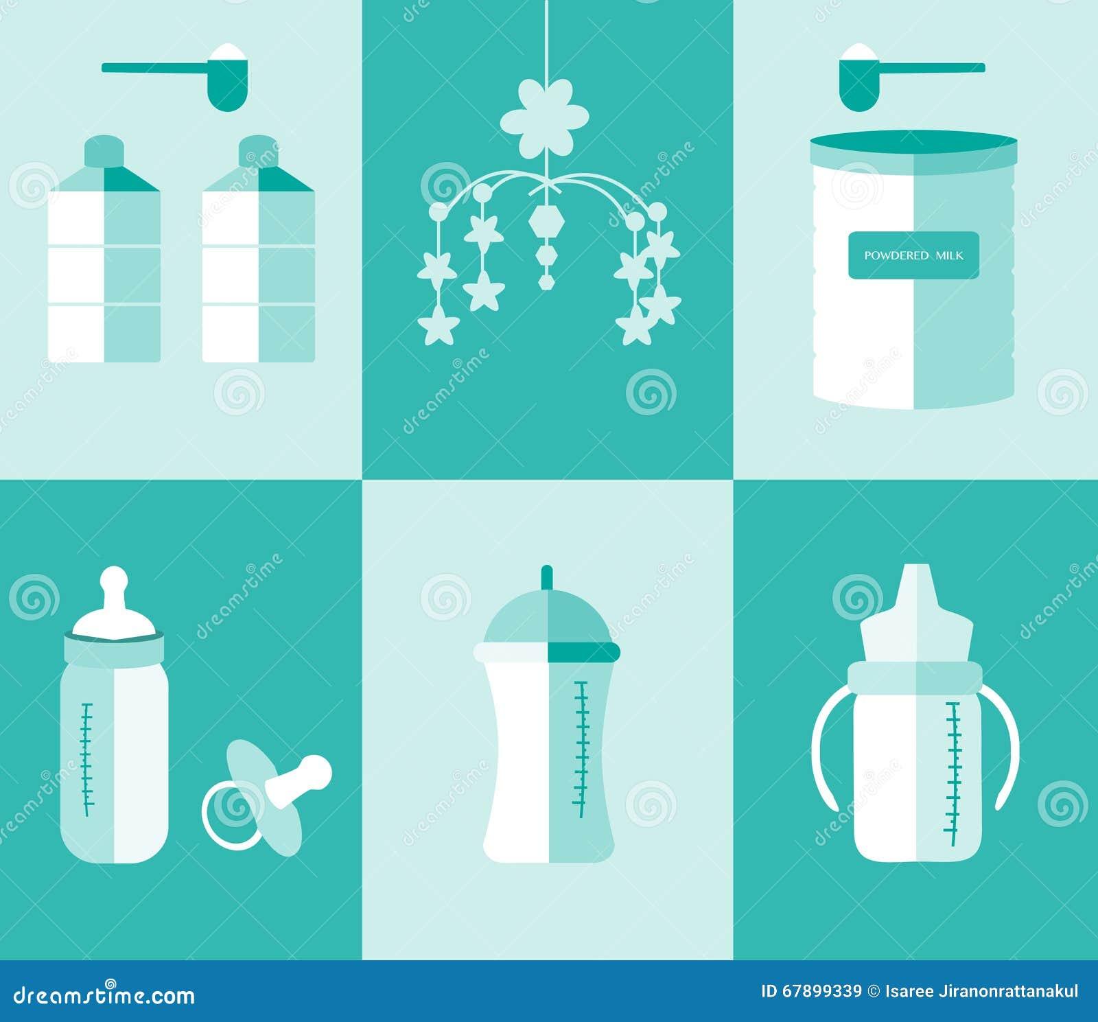 准备套婴孩的牛奶瓶和搽粉的牛奶,传染媒介例证