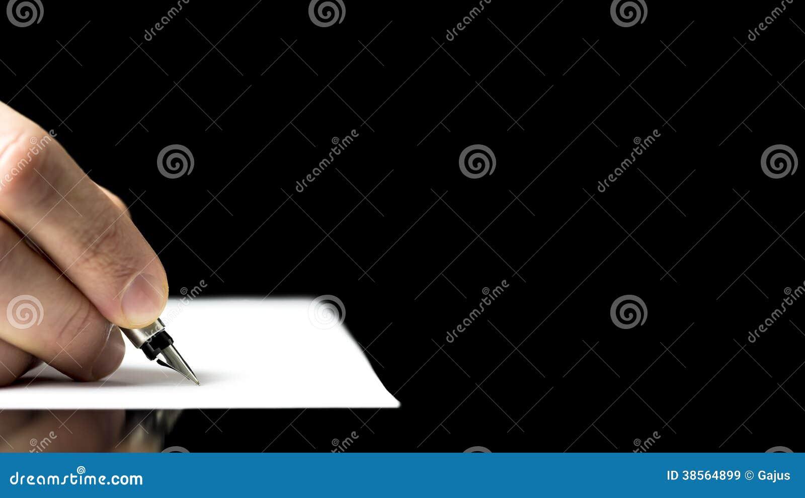 准备好男性的手写与钢笔