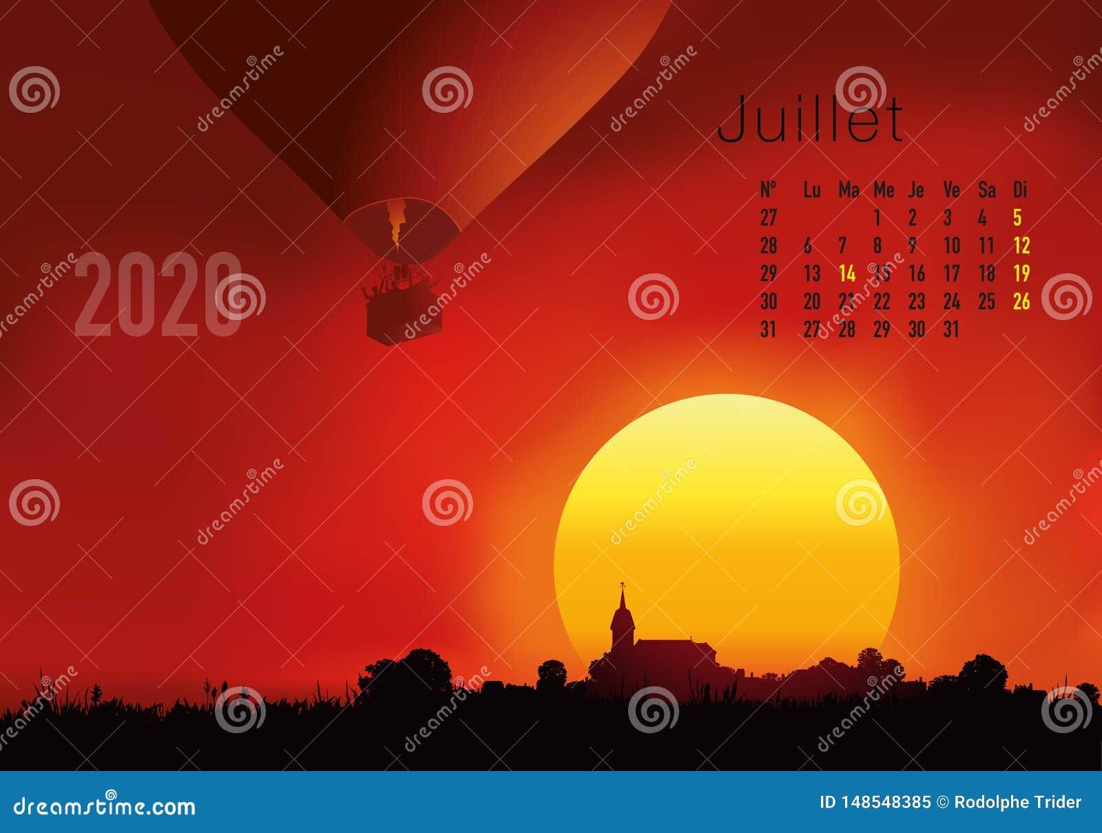 2020准备好的日历打印在法语版本,显示日落在气球overflighted的风景