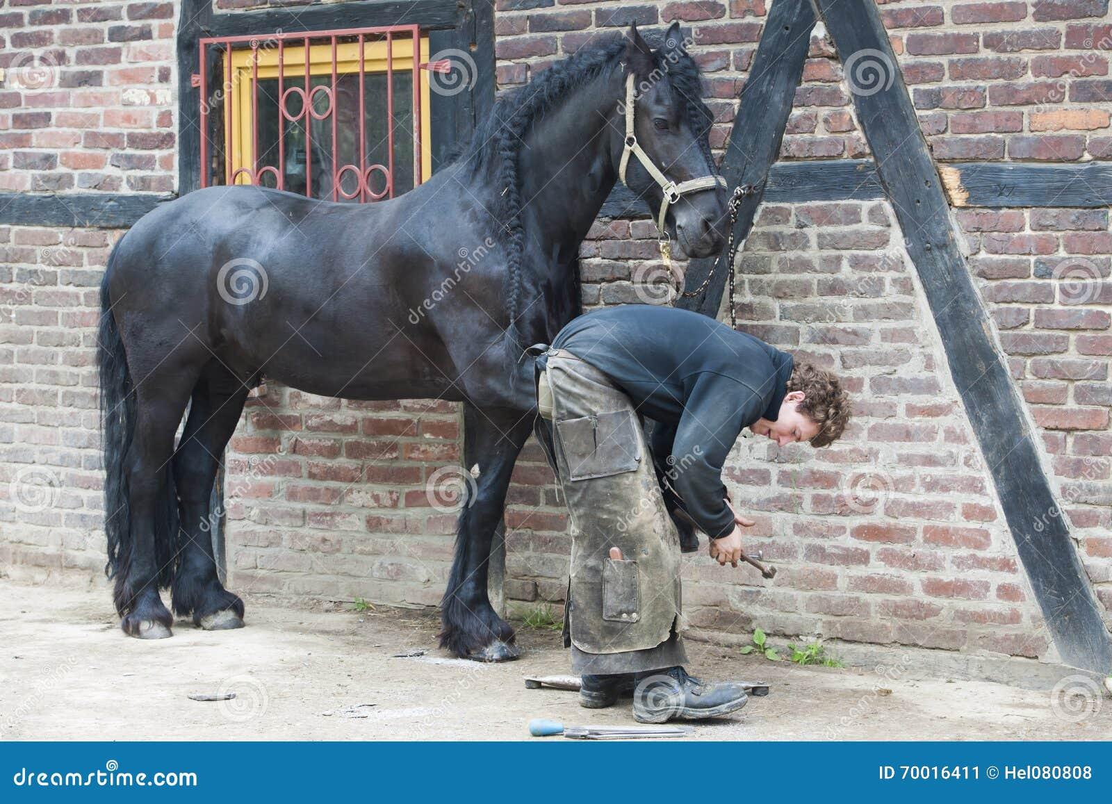准备蹄的钉马掌铁匠