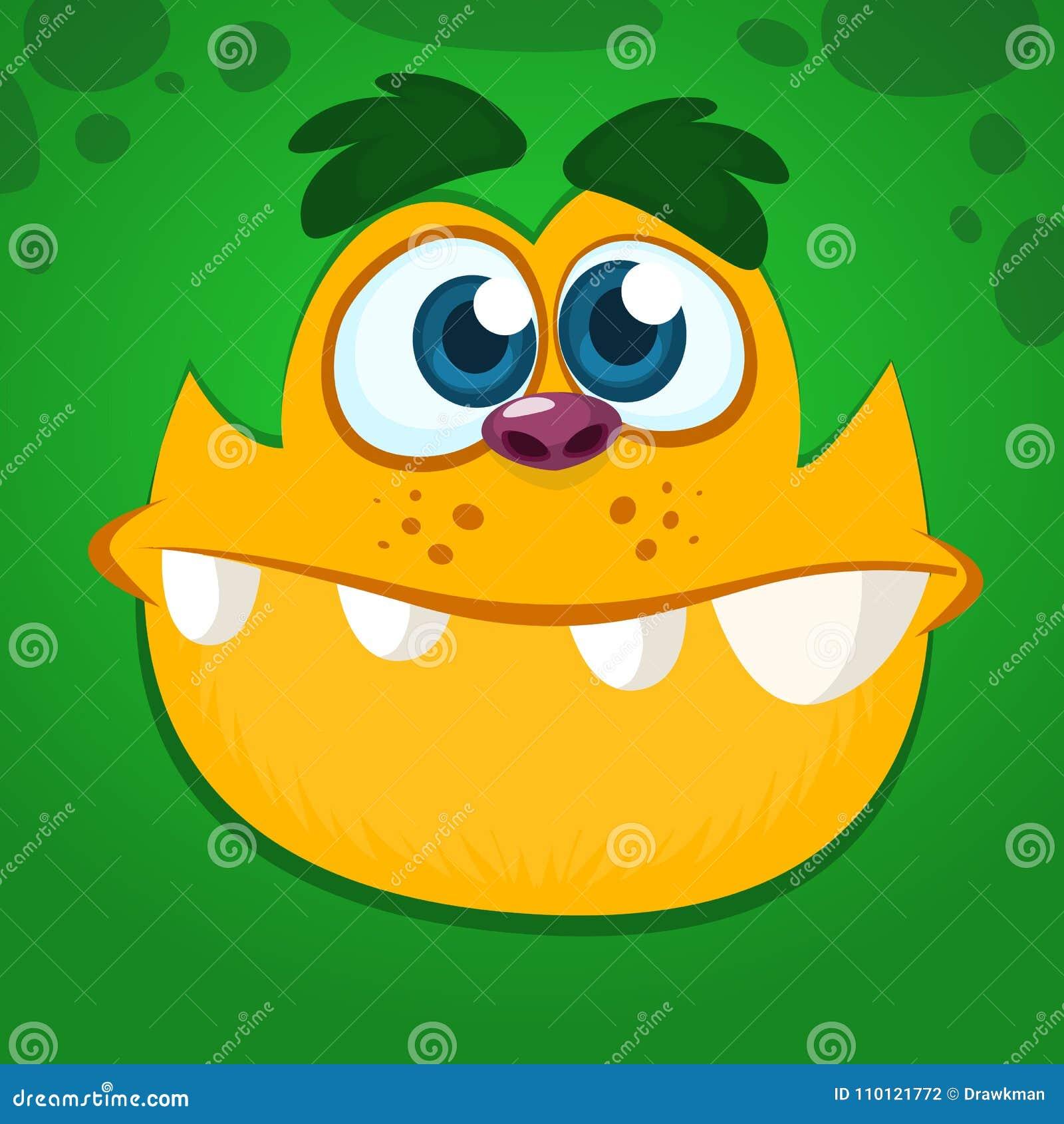 凉快和滑稽的动画片妖怪面孔 绿色妖怪的传染媒介例证