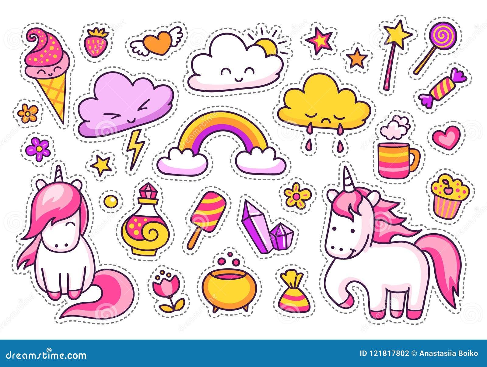 凉快的贴纸设置了漫画人物,云彩,彩虹,不可思议的元素