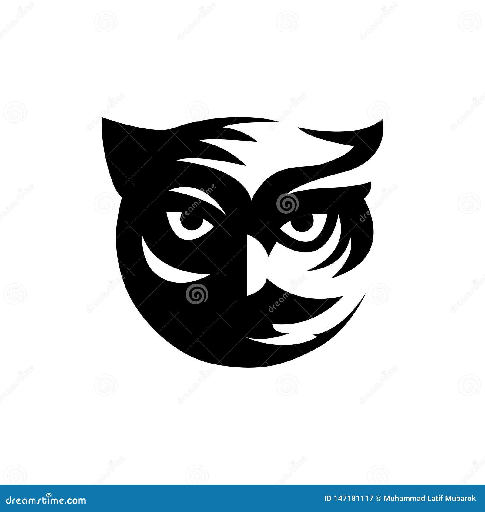 凉快的黑猫头鹰顶头商标