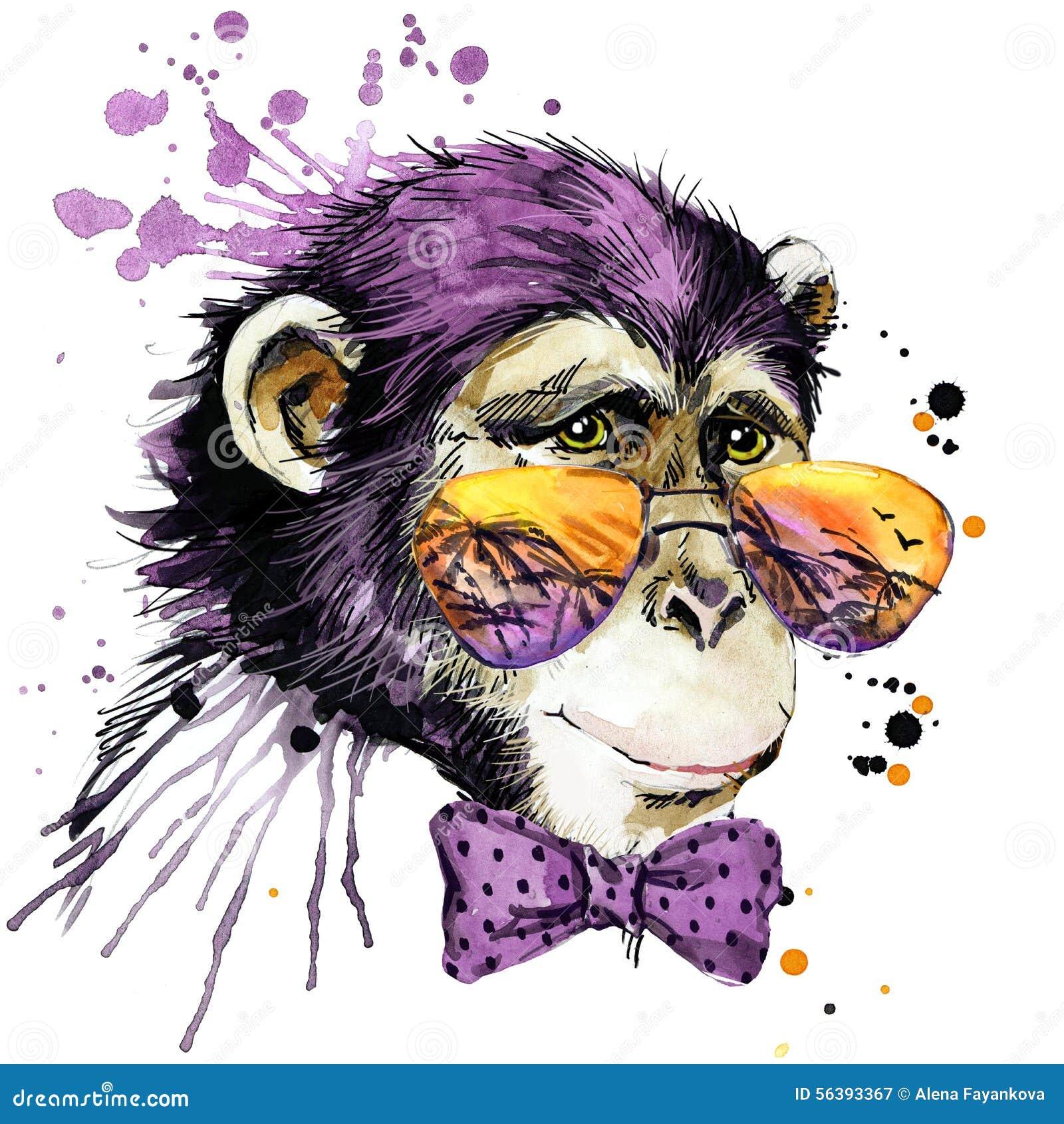 凉快的猴子T恤杉图表 猴子例证有飞溅水彩织地不很细背景 异常的例证水彩修士