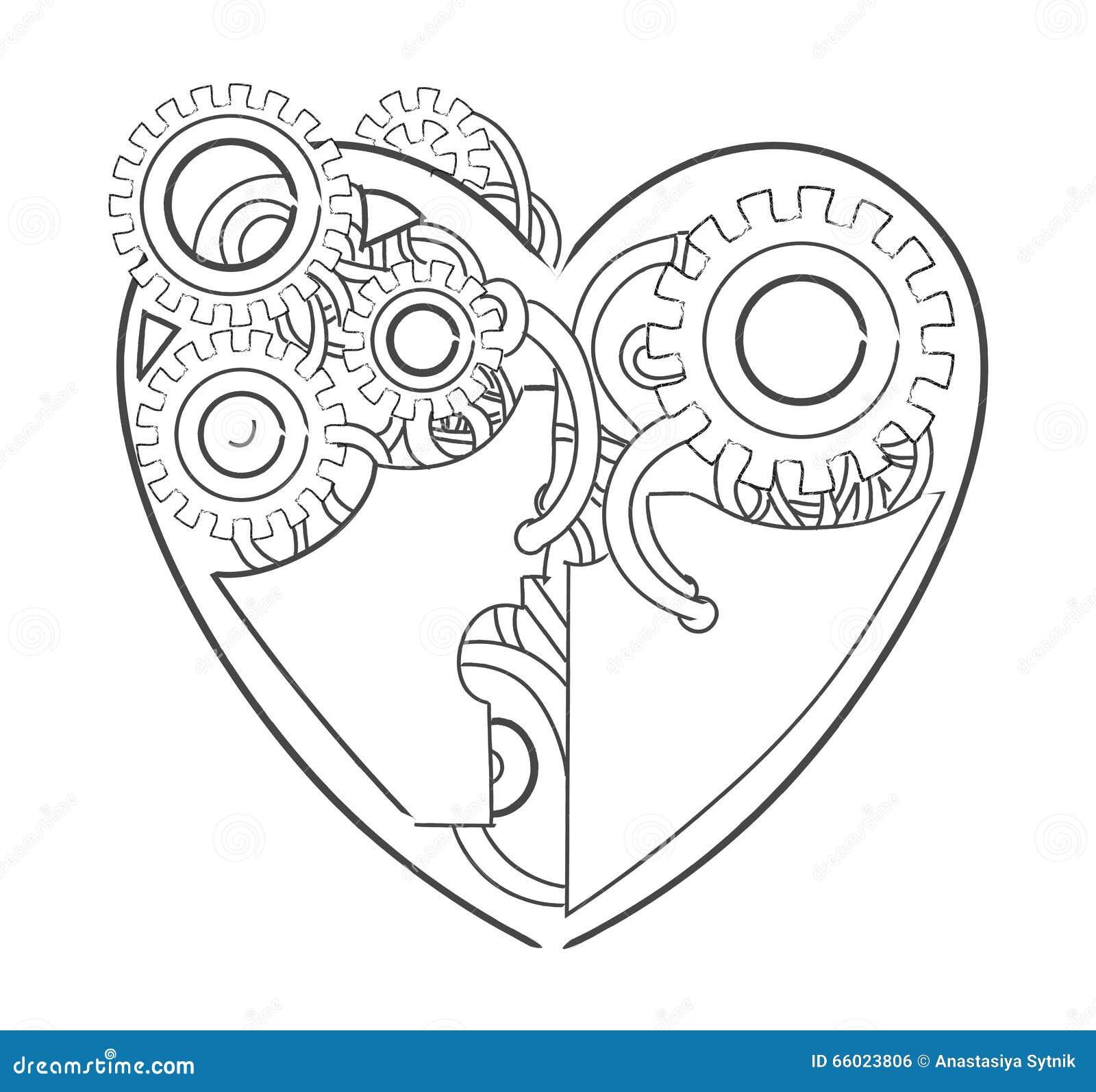 凉快的steampunk机械心脏,手拉的例证.图片