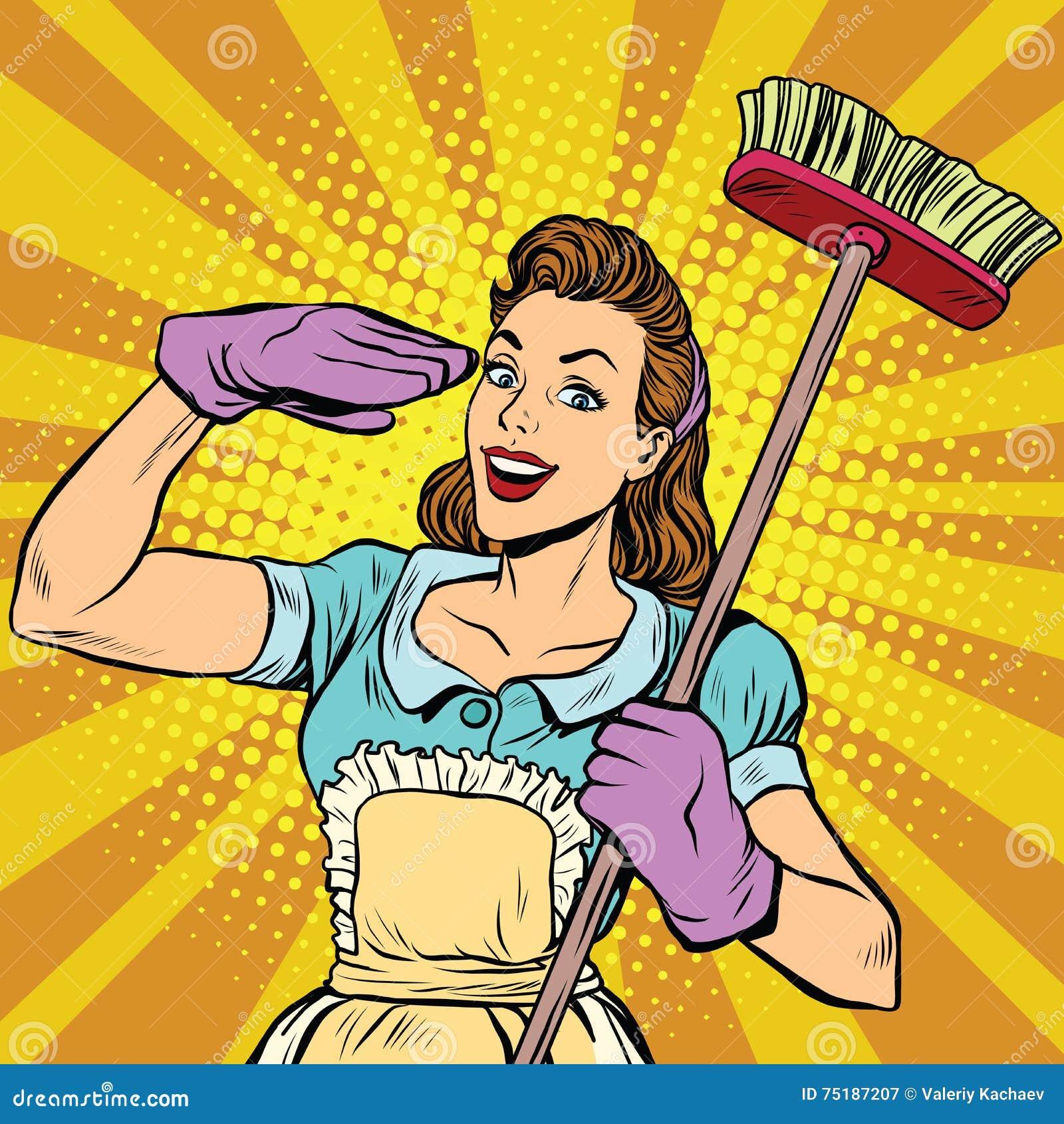 减速火箭女性擦净人清洁公司的流行艺术