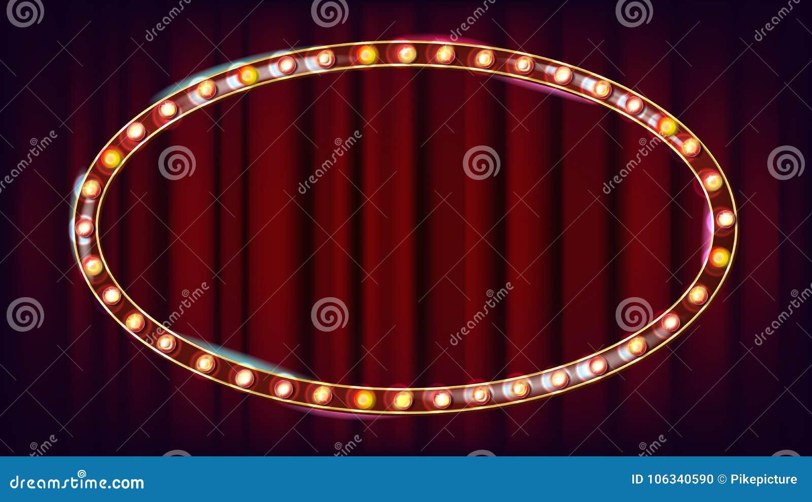 减速火箭的广告牌传染媒介 光亮的轻的标志板 现实亮光灯框架 狂欢节,马戏,赌博娱乐场样式
