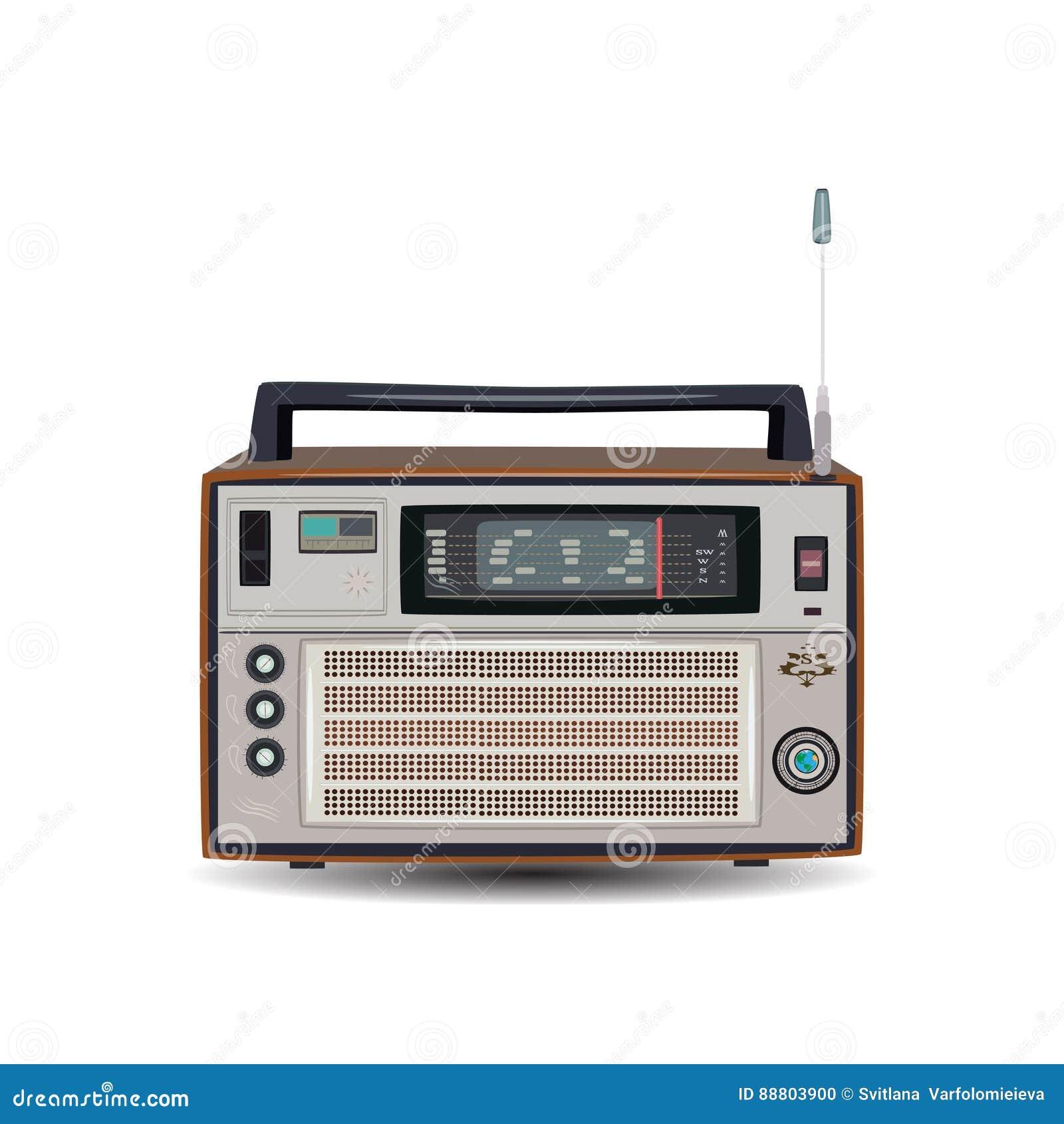 减速火箭的收音机,在平的样式的传染媒介例证