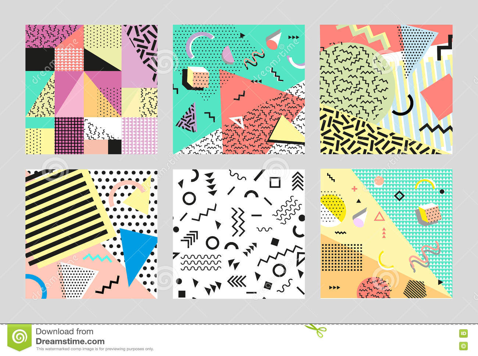 减速火箭的葡萄酒80s或90s时尚样式 孟菲斯卡片 大集 时髦几何元素 现代抽象设计海报