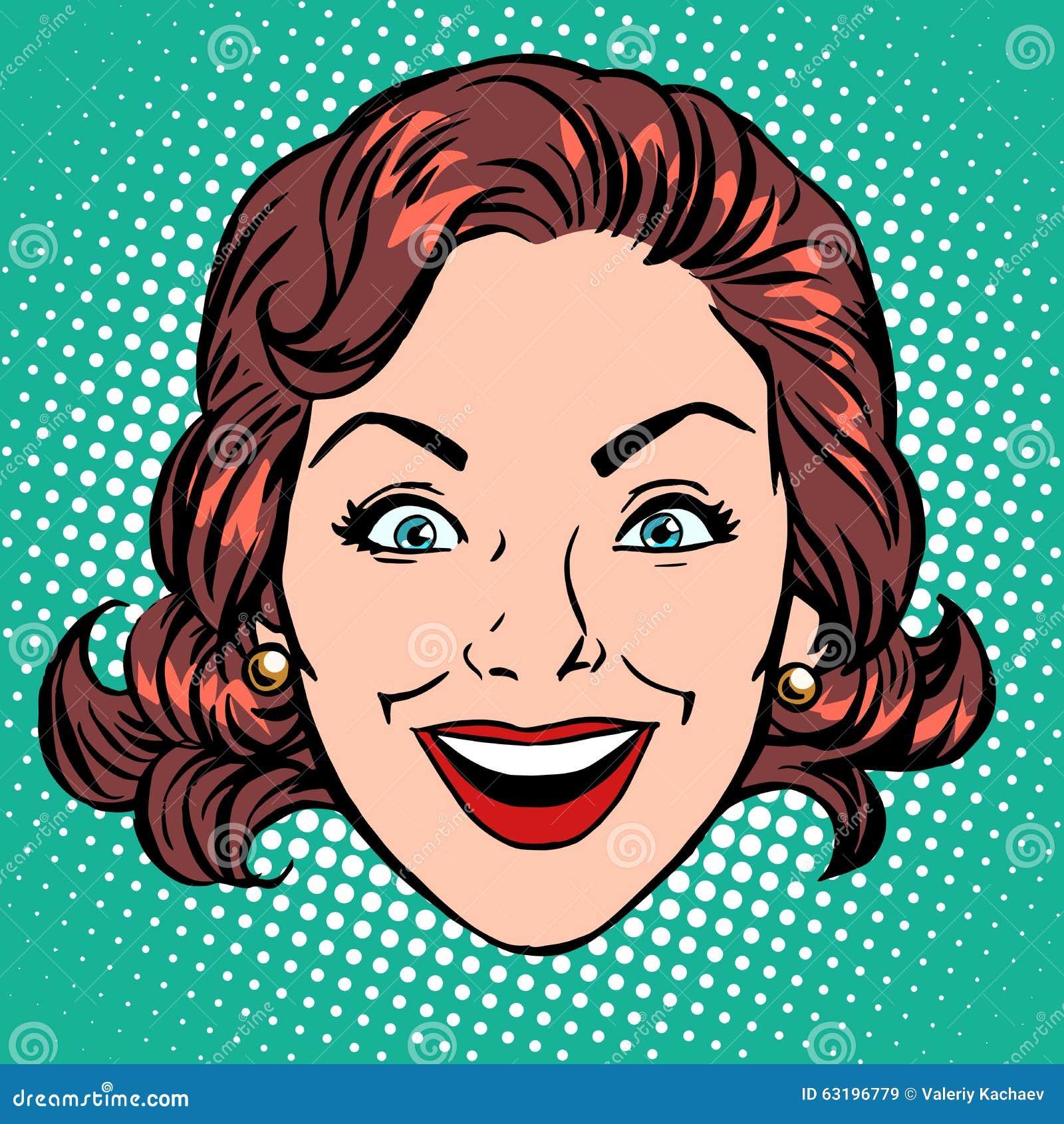 减速火箭的emoji微笑喜悦妇女面孔流行艺术减速火箭的样式.图片