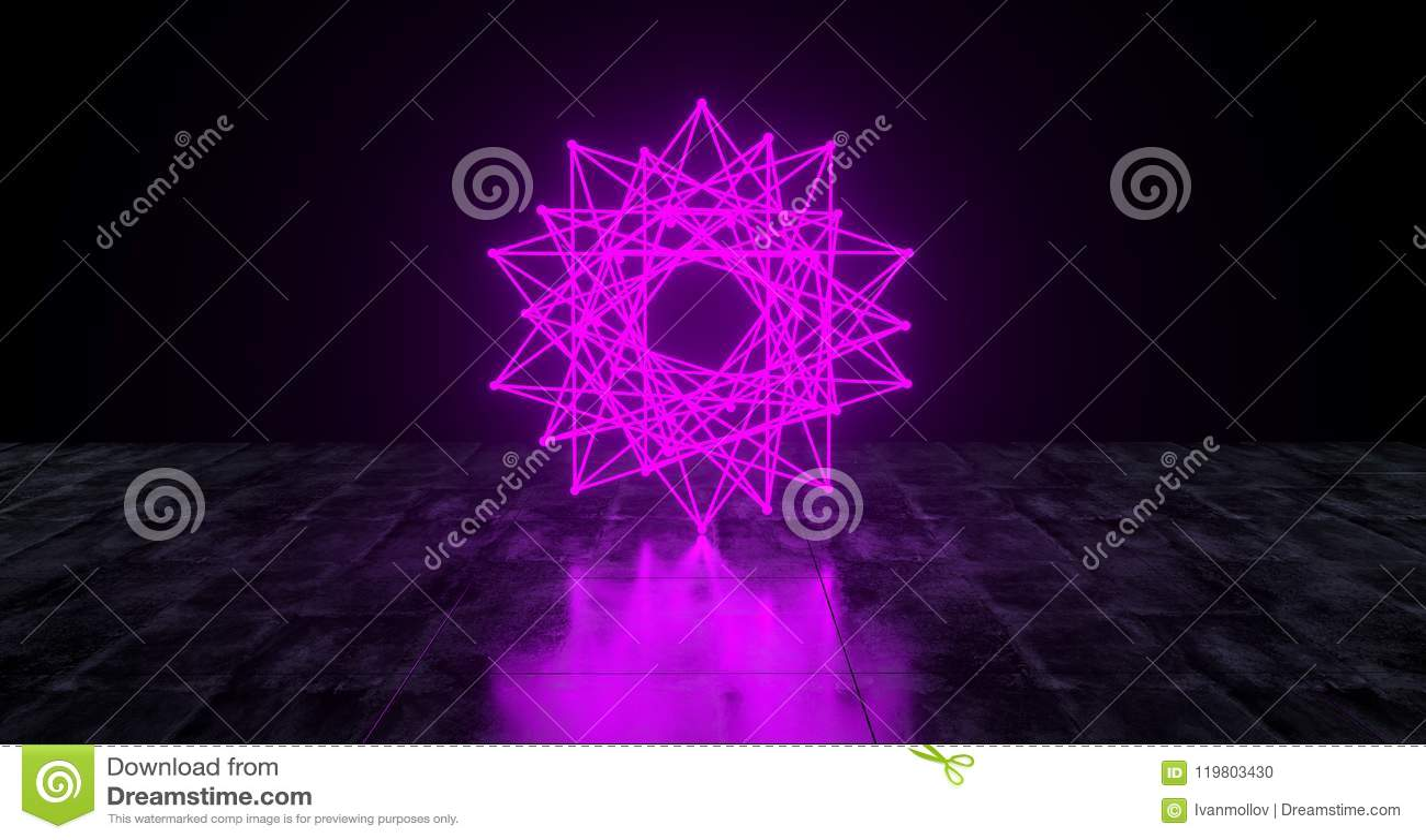 几何未来派科学幻想小说霓虹原始星抽签跑光