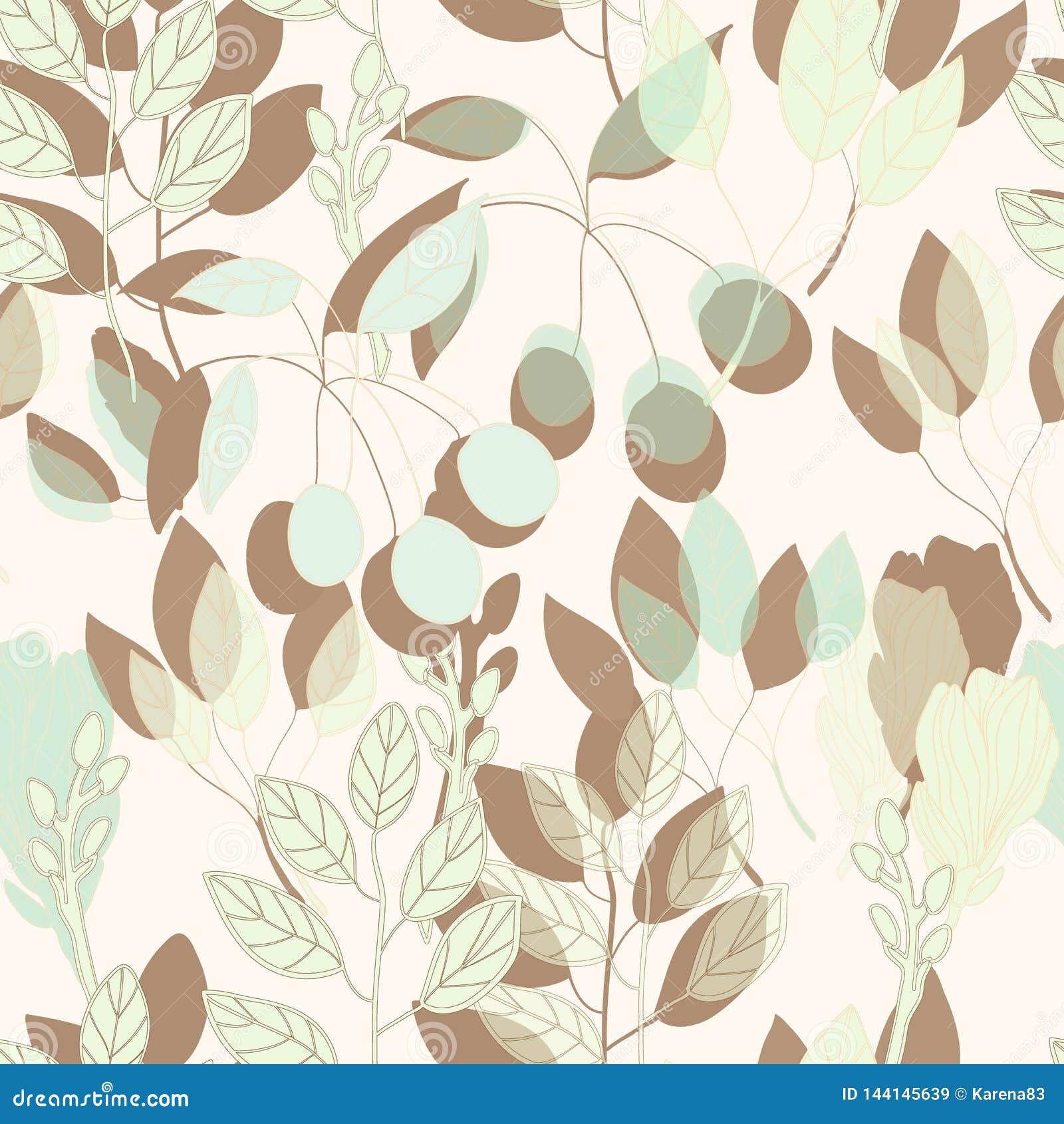 几何植物的在传染媒介的印刷品无缝的样式