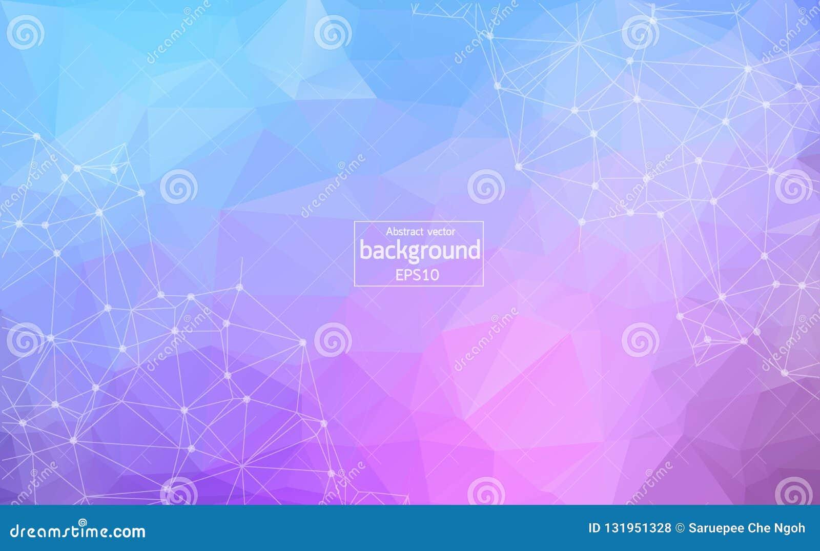 几何浅紫色的多角形背景分子和通信 与小点的被连接的线 简单派背景 概念