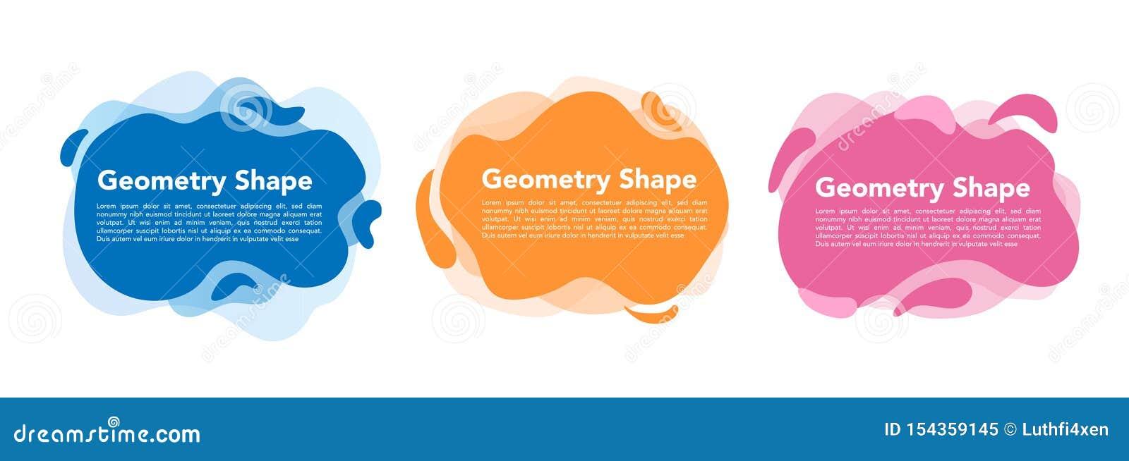 几何液体五颜六色的抽象形状集合 现代设计被隔绝的白色背景