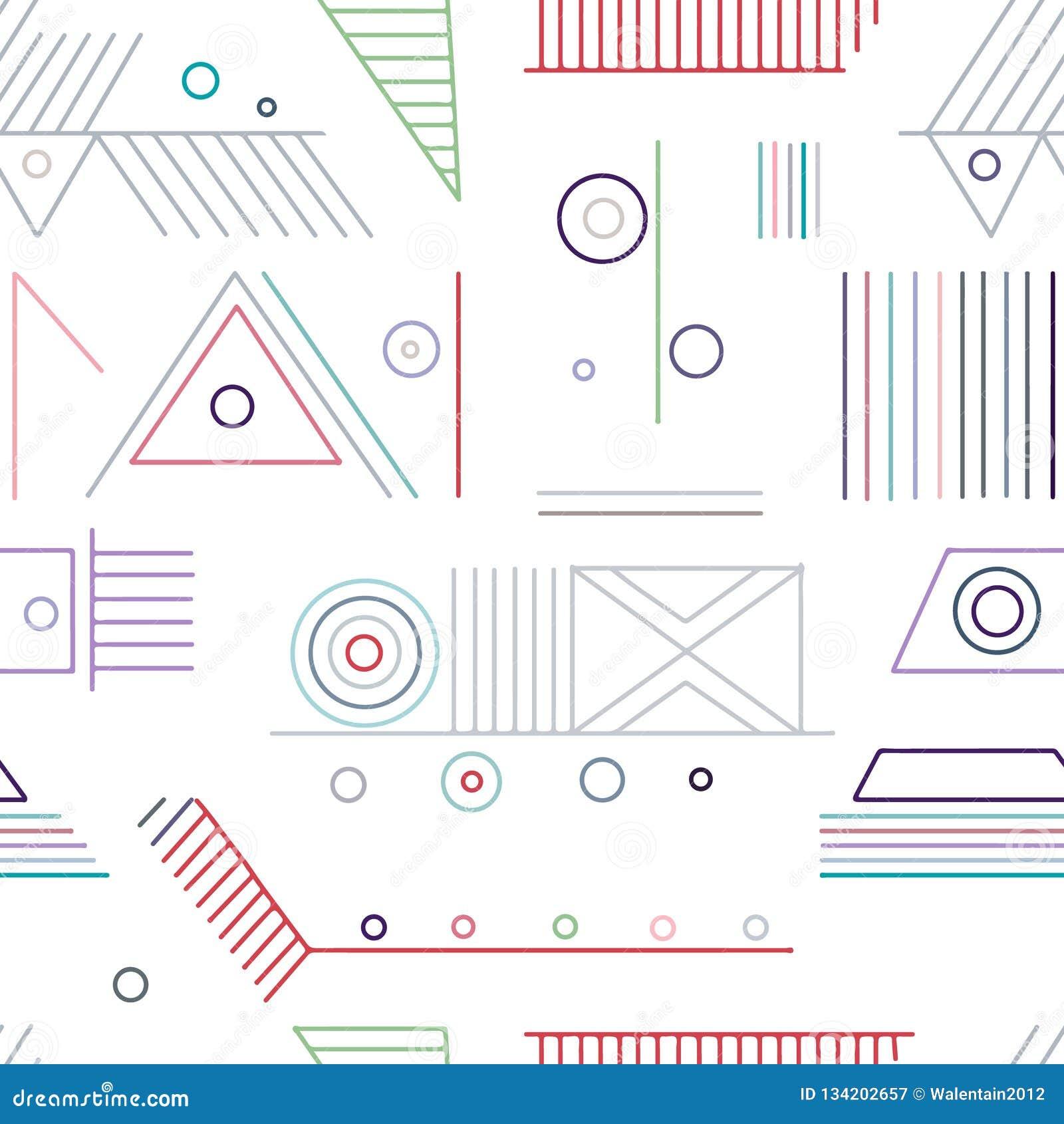 几何用不同的几何形式的传染媒介无缝的样式 正方形,三角,长方形,线 现代techno设计