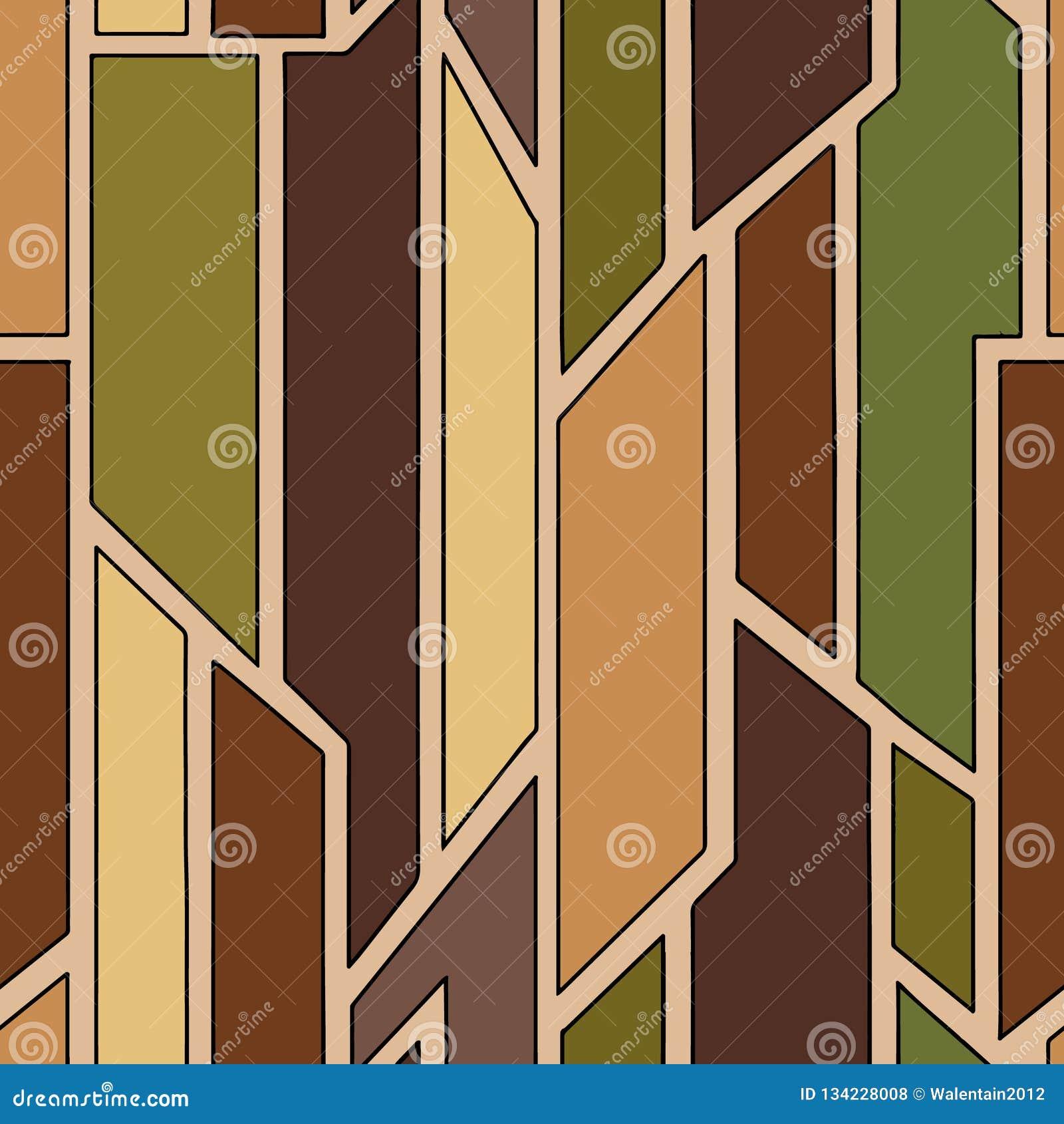 几何用不同的几何形式的传染媒介褐色无缝的样式 正方形,三角,长方形 最小现代的techno