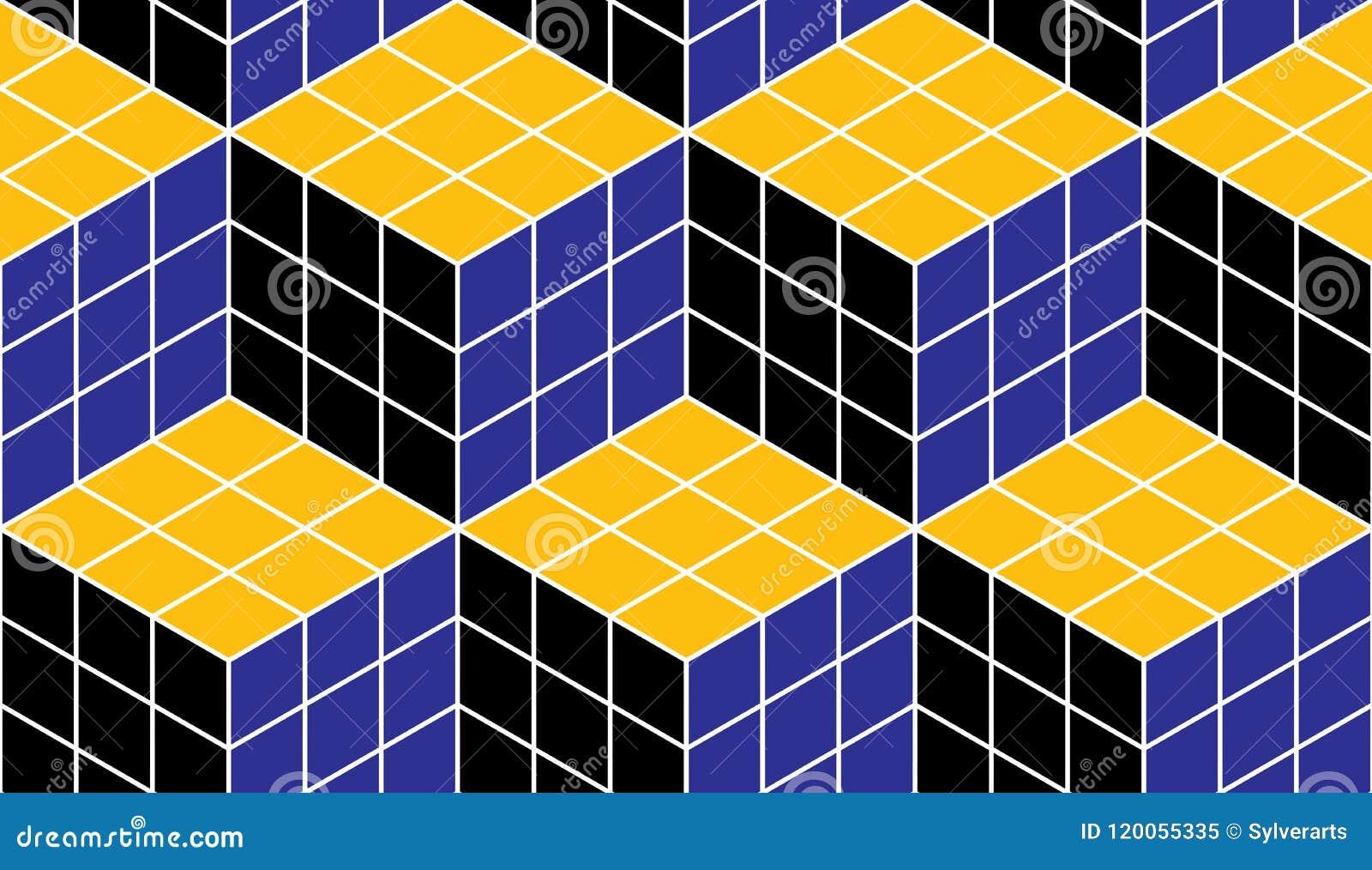 几何立方体提取无缝的样式, 3d传染媒介背景