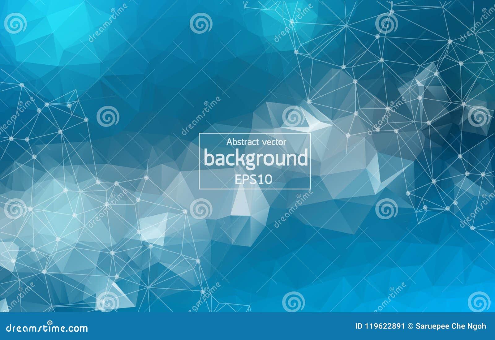 几何蓝色多角形背景分子和通信 与小点的被连接的线 简单派背景 s的概念