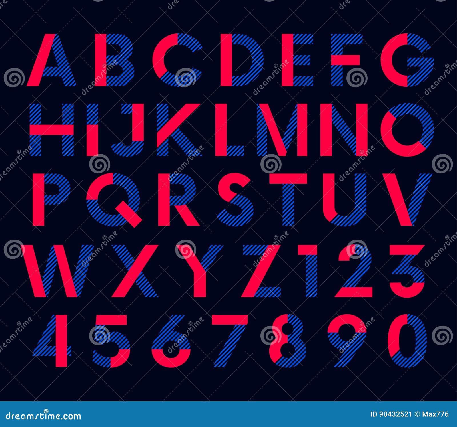 几何装饰色的字体,传染媒介字母表