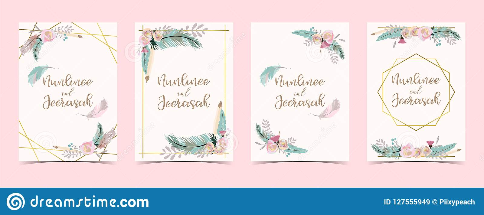 几何金子婚礼与花,叶子,丝带, wr的邀请卡片