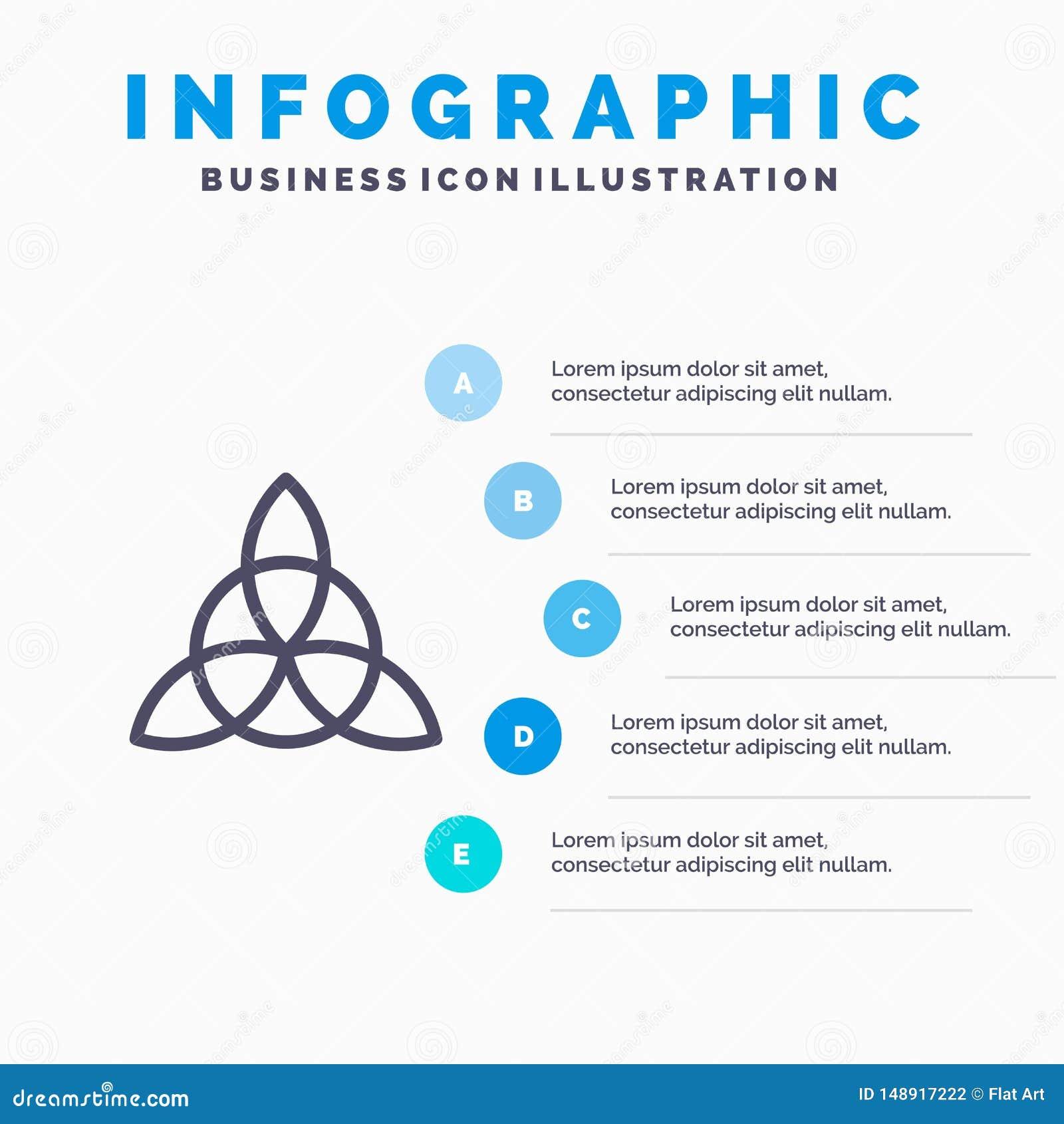 凯尔特语,爱尔兰,花线象有5步介绍infographics背景