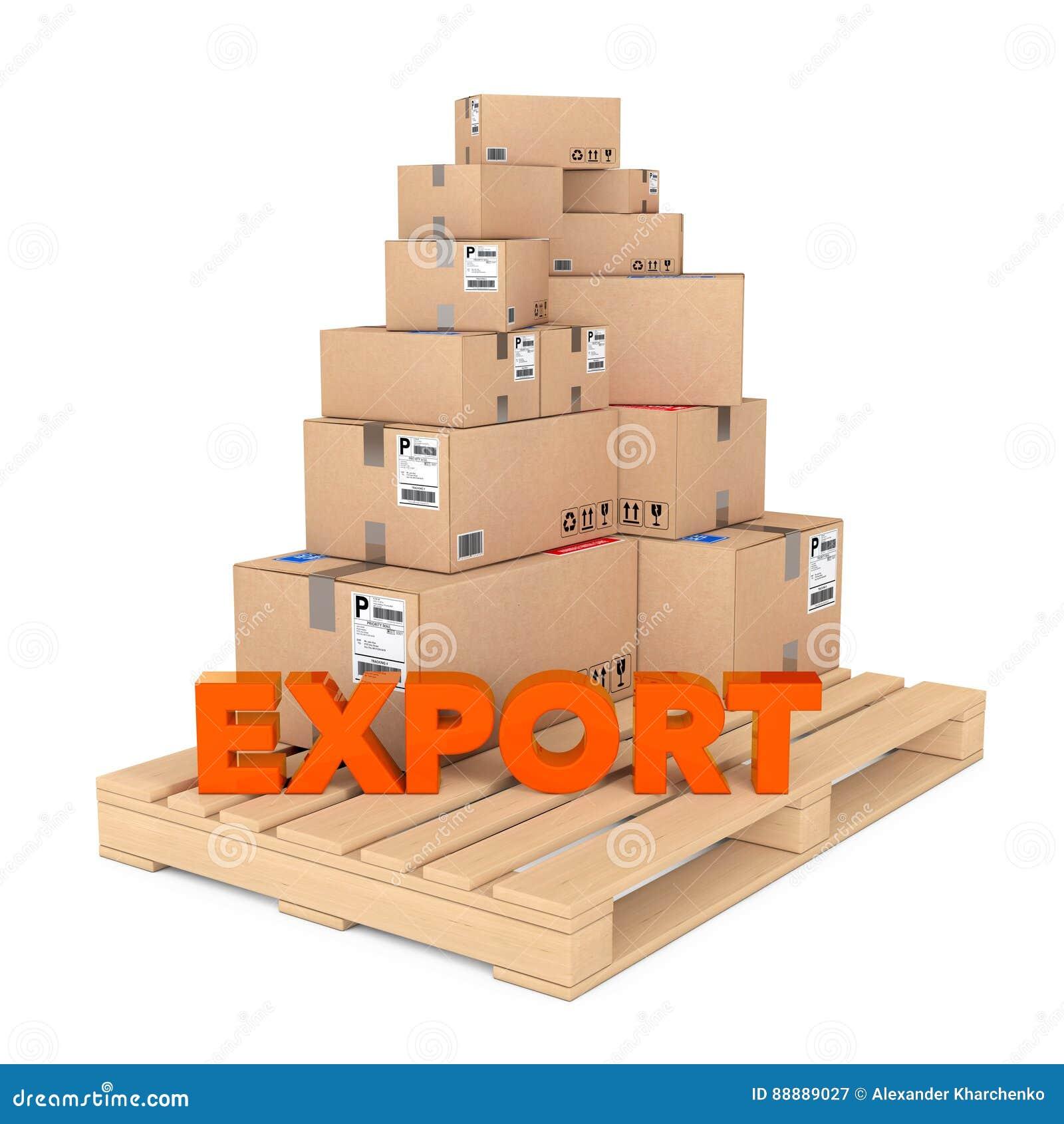 出口概念 在木调色板的纸板箱有出口的Si