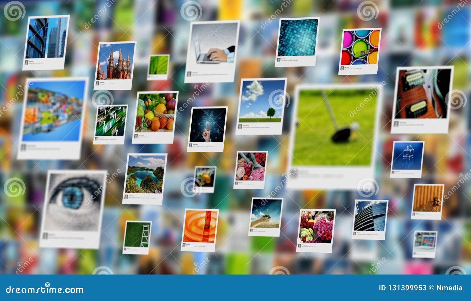 分享在互联网上的图象、照片或者图片概念