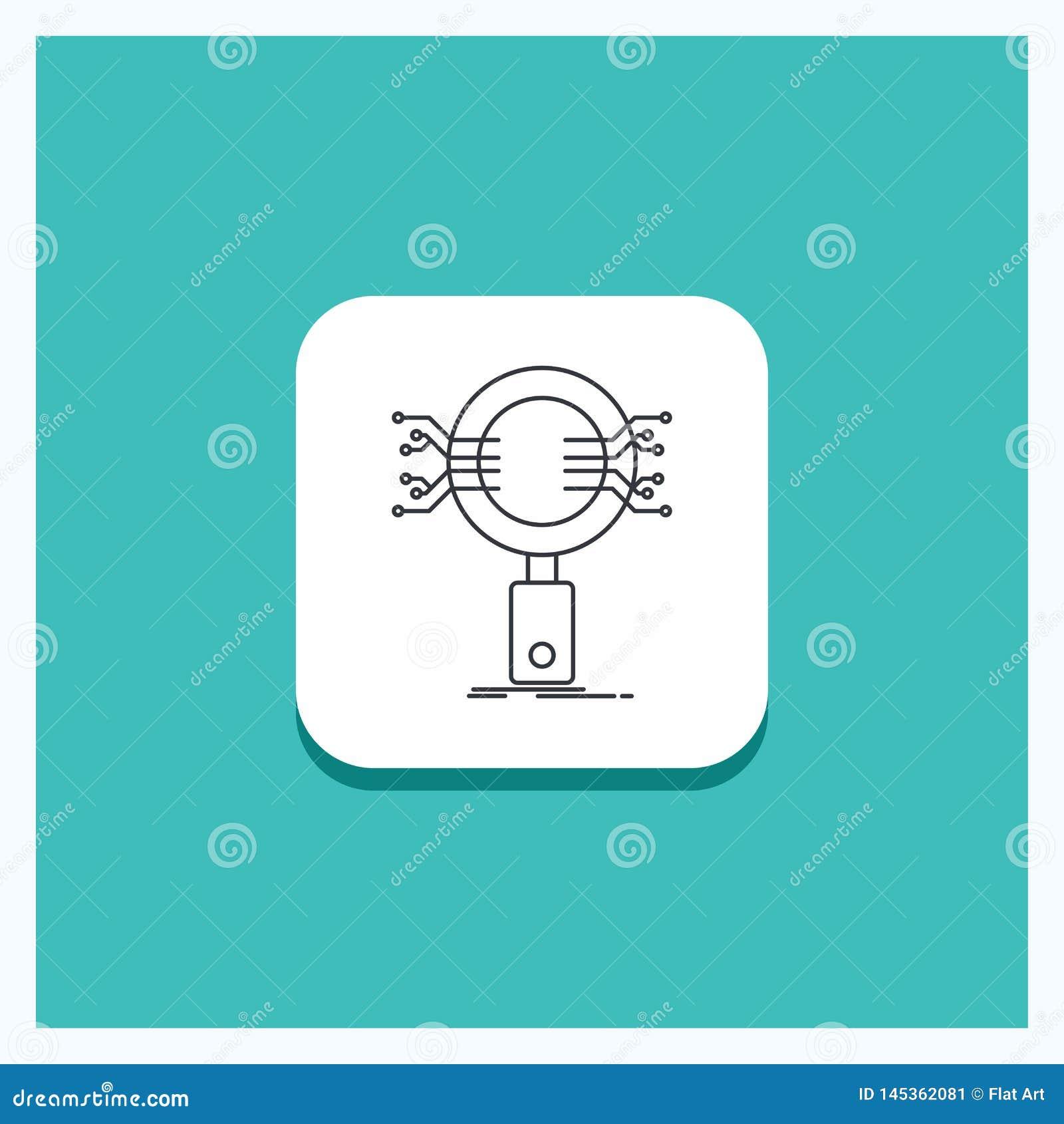 分析的,查寻,信息,研究,安全线象绿松石背景圆的按钮