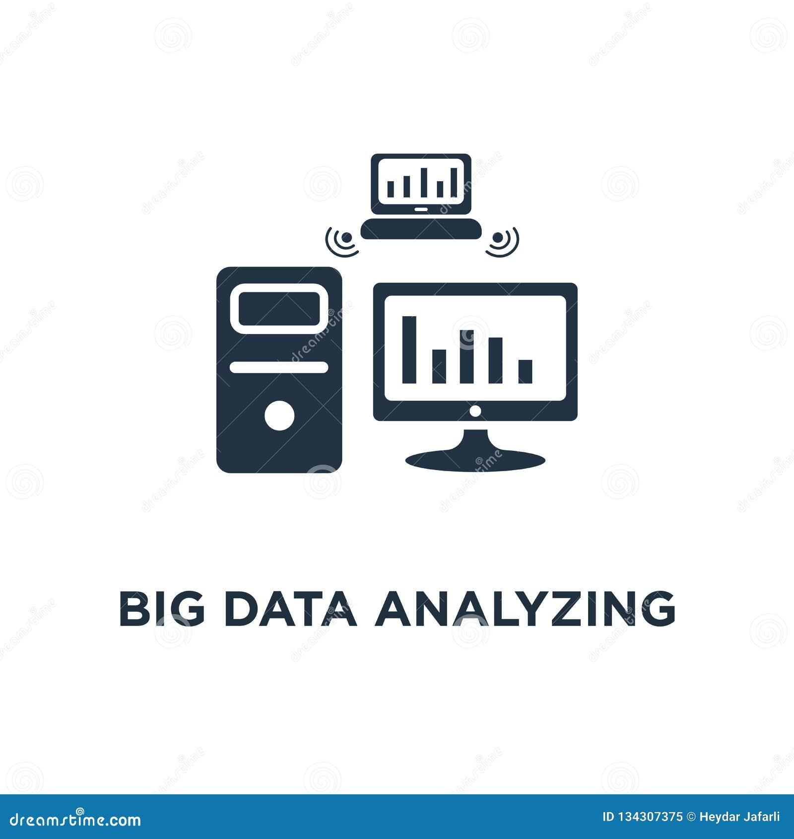 分析象的大数据 信息收集和处理概念标志设计,报告图表,数据服务器,事务