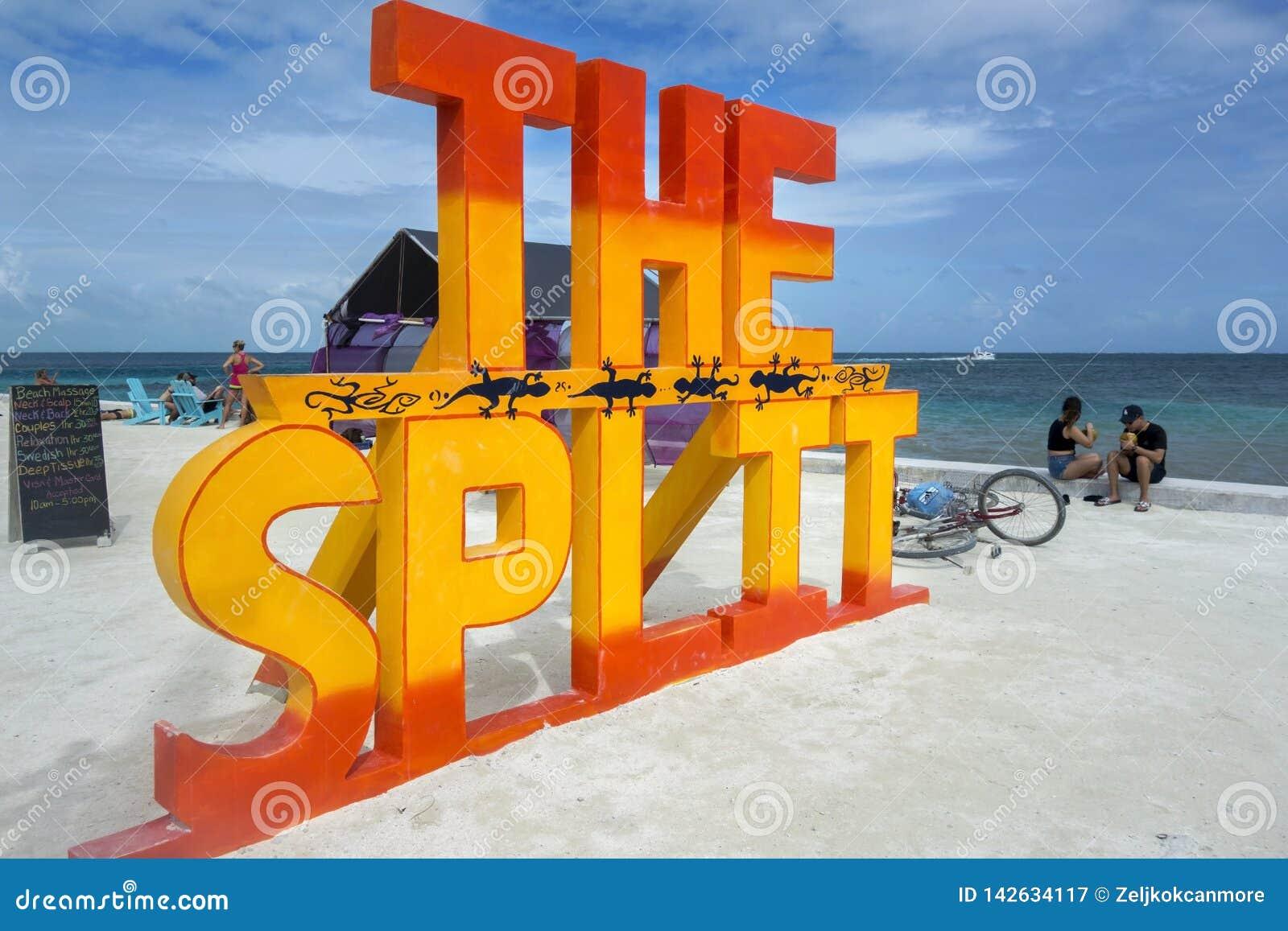 分裂海滩标志Caye填缝隙工加勒比岛伯利兹中美洲