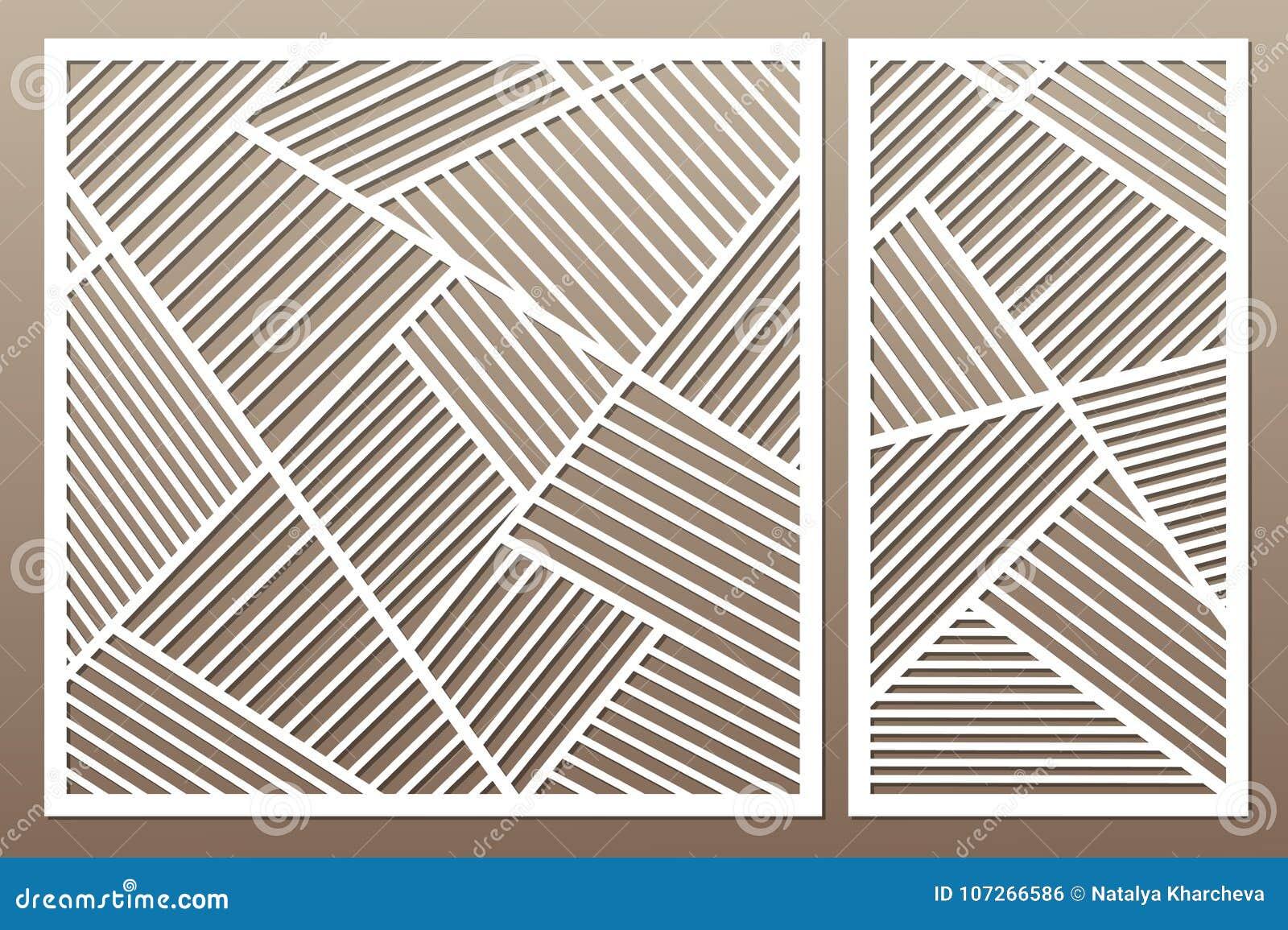 切开的集合装饰卡片 几何线路模式 激光c