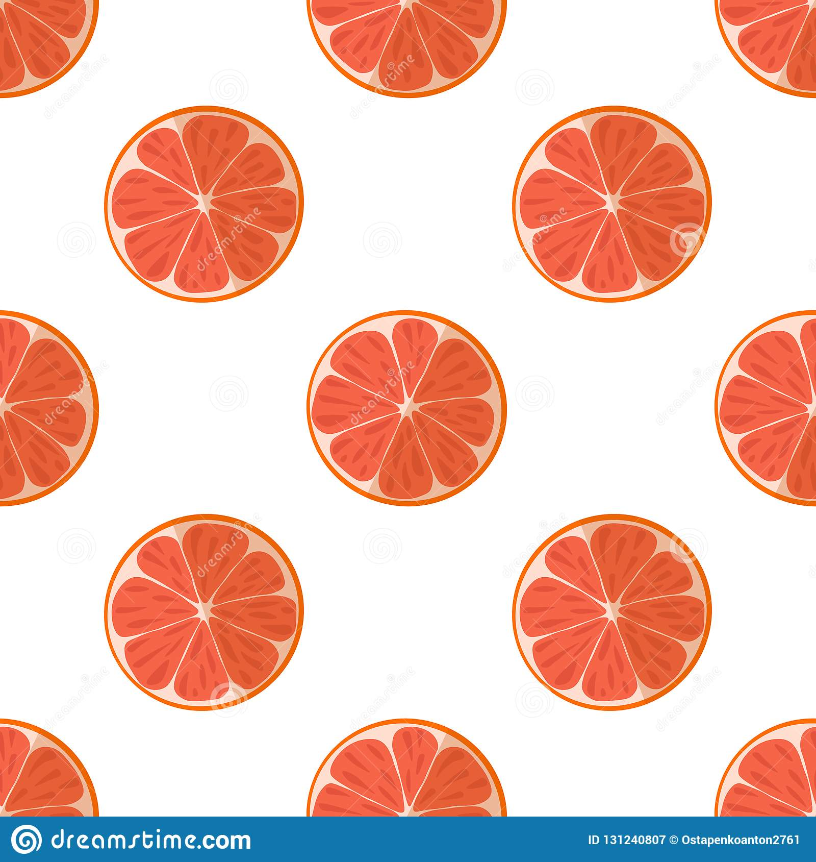 切片的传染媒介例证在轻的背景的葡萄柚 明亮的与一个水多的葡萄柚图象的果子无缝的样式